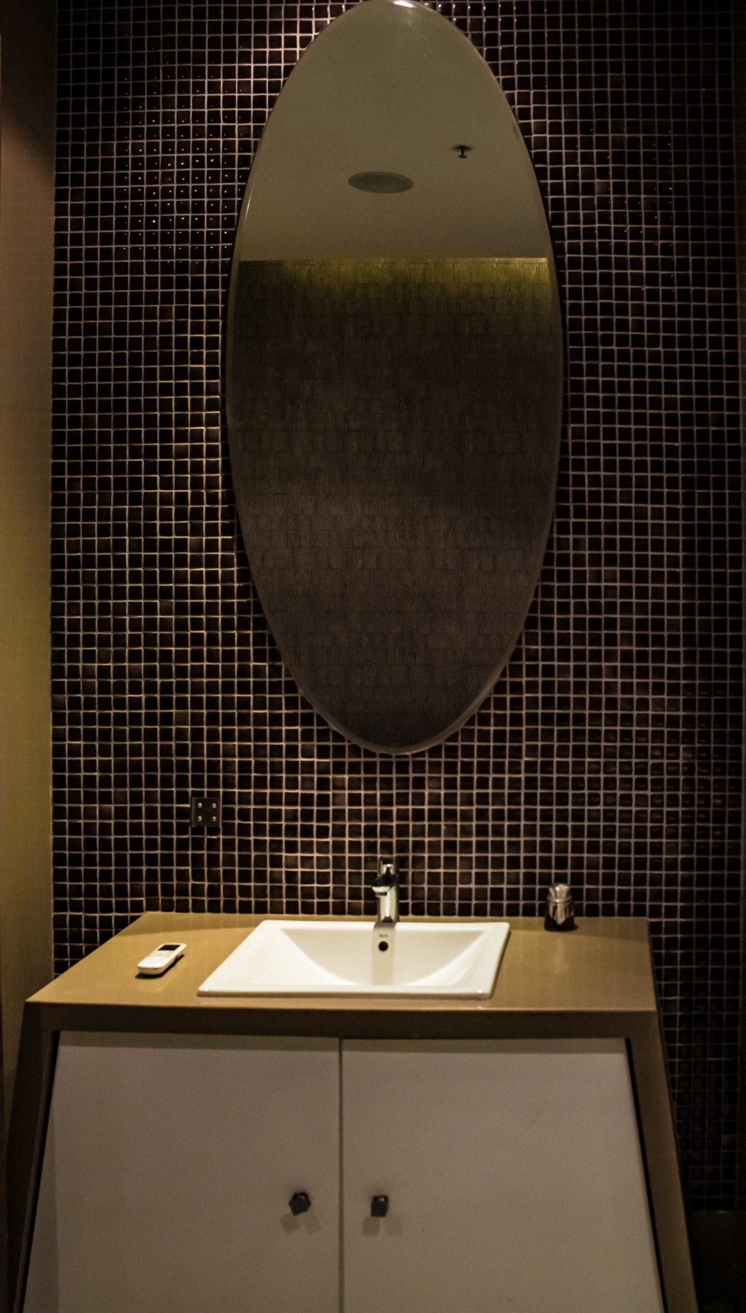 Wash basin and mirror