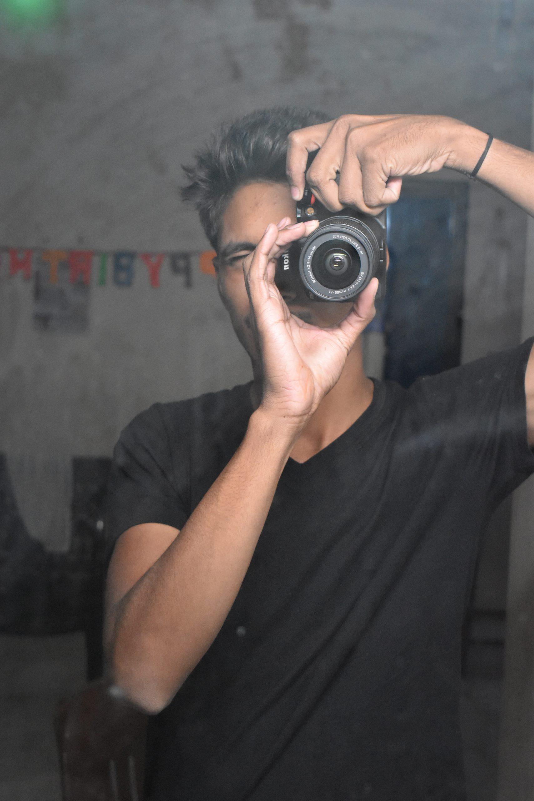A photographer taking an image