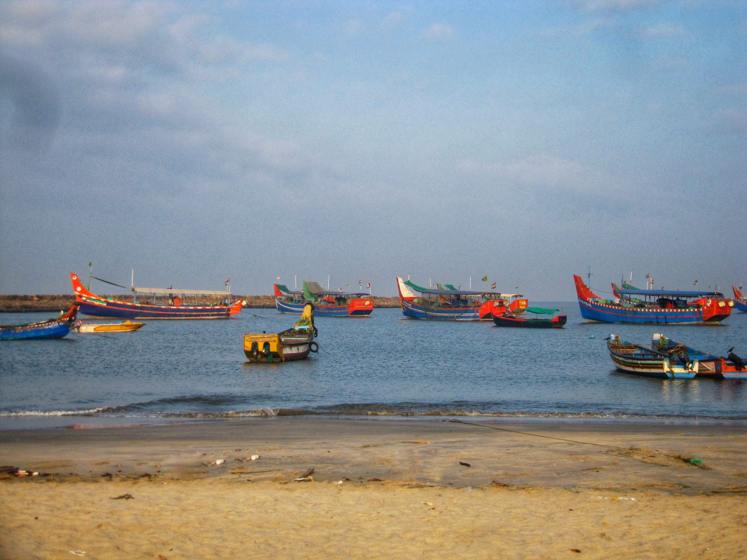 Fishing boats at a beach