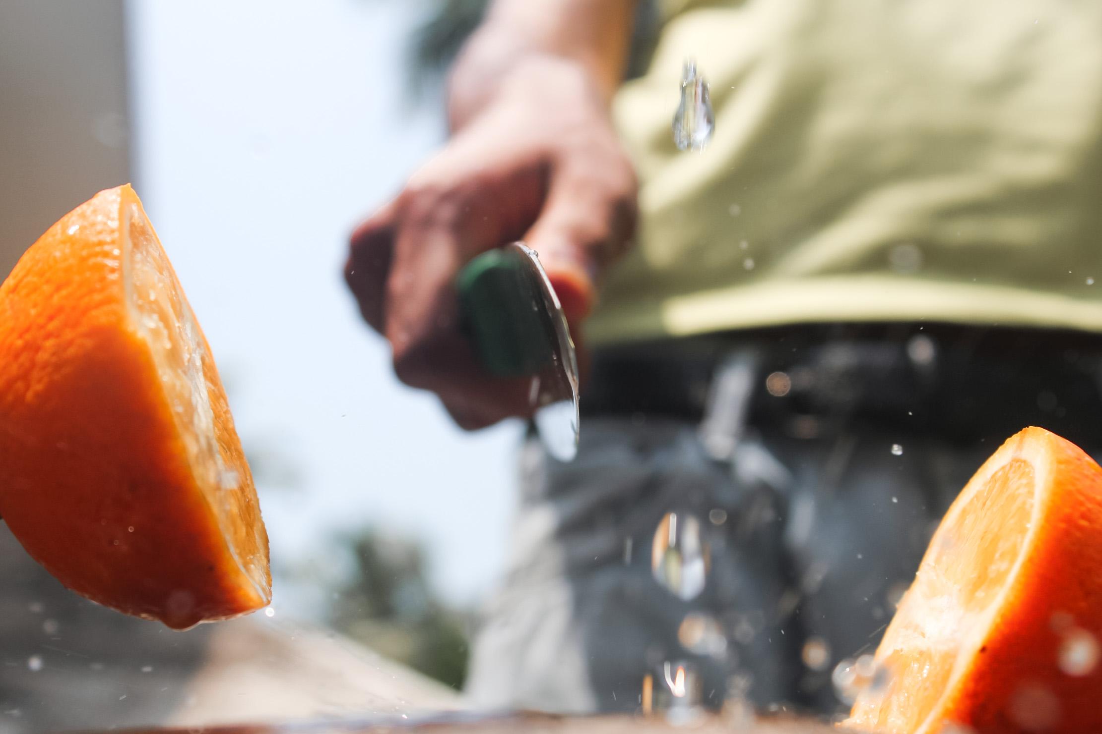 cutting orange