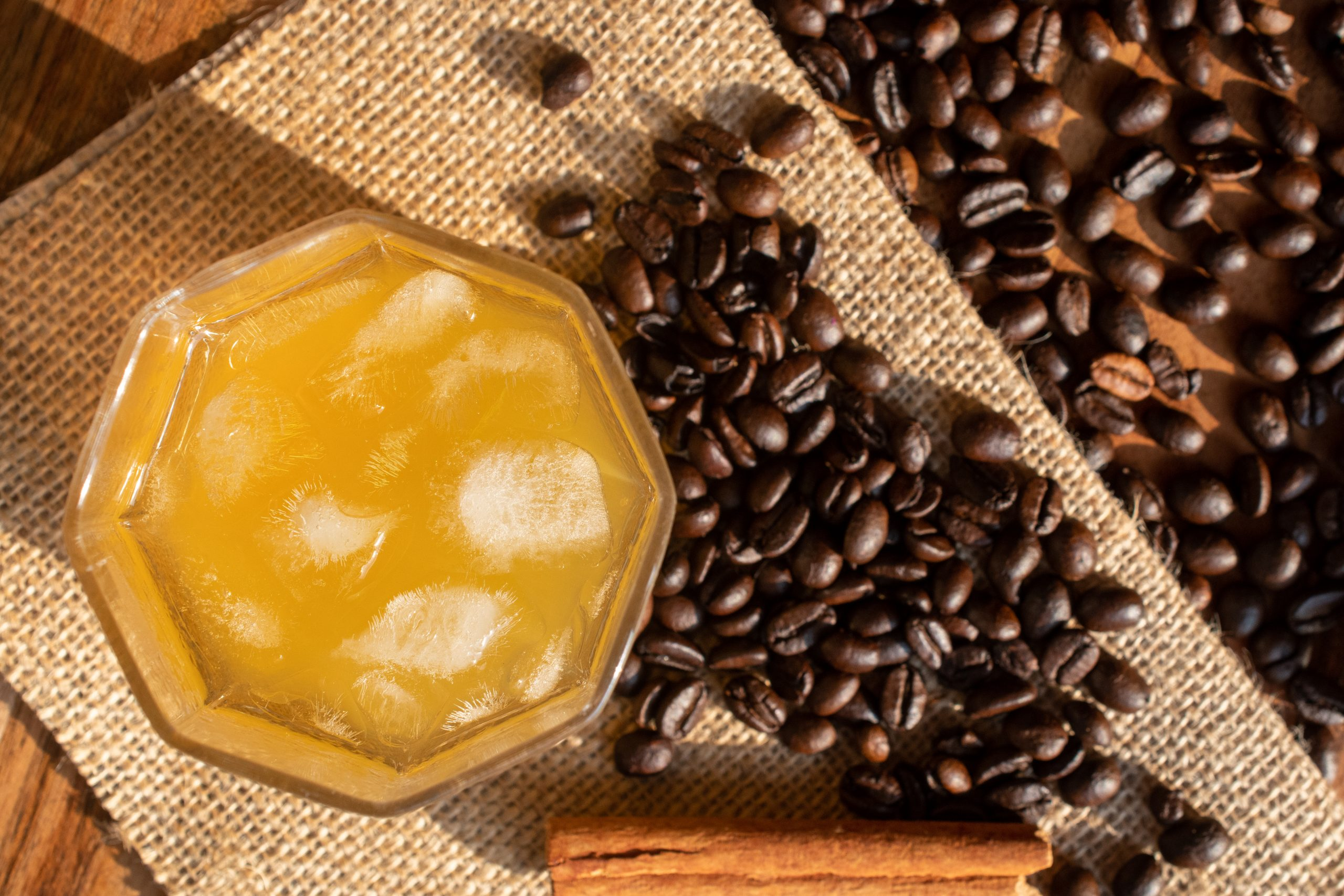 ornage juice and coffee beans