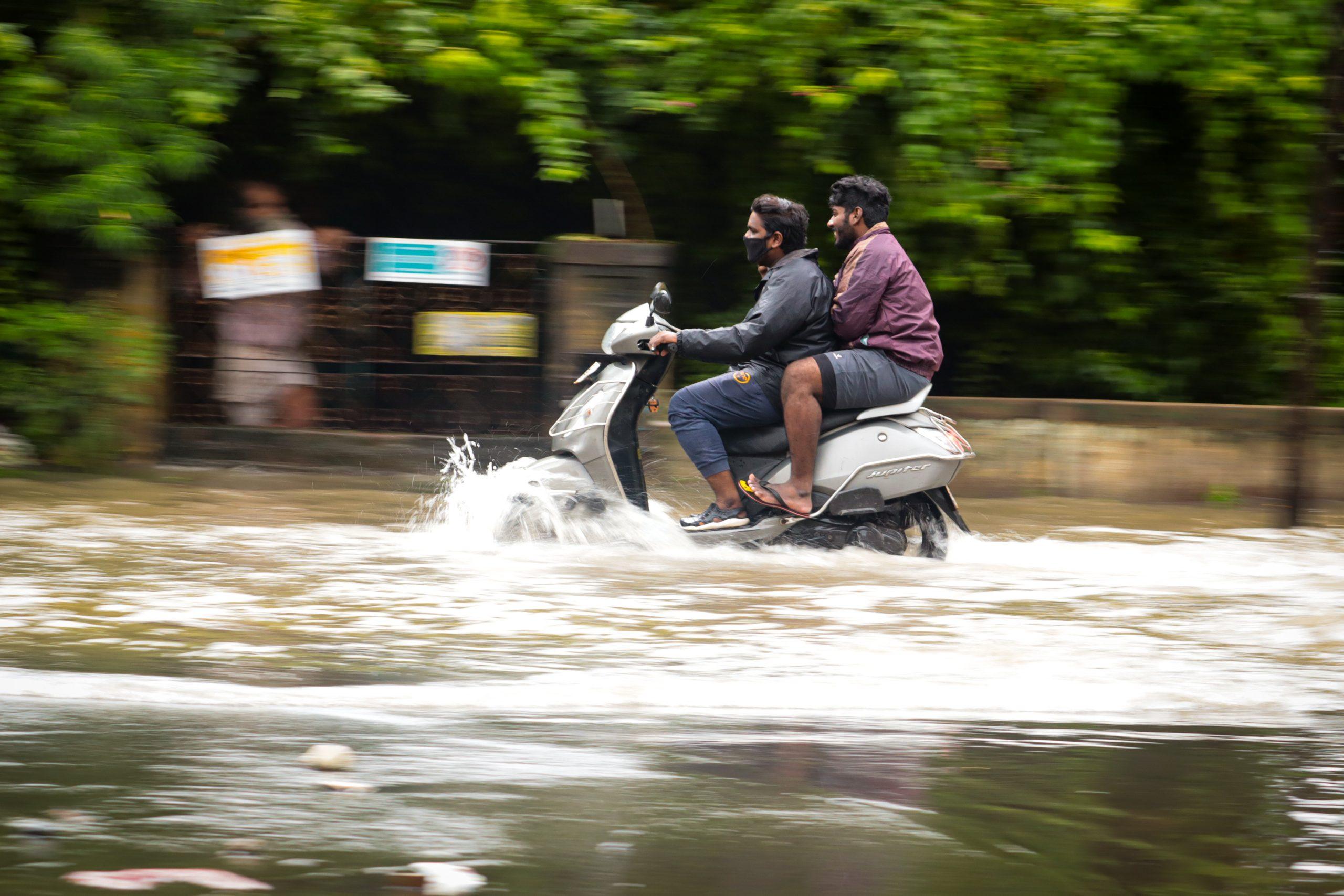 Driving through flood water