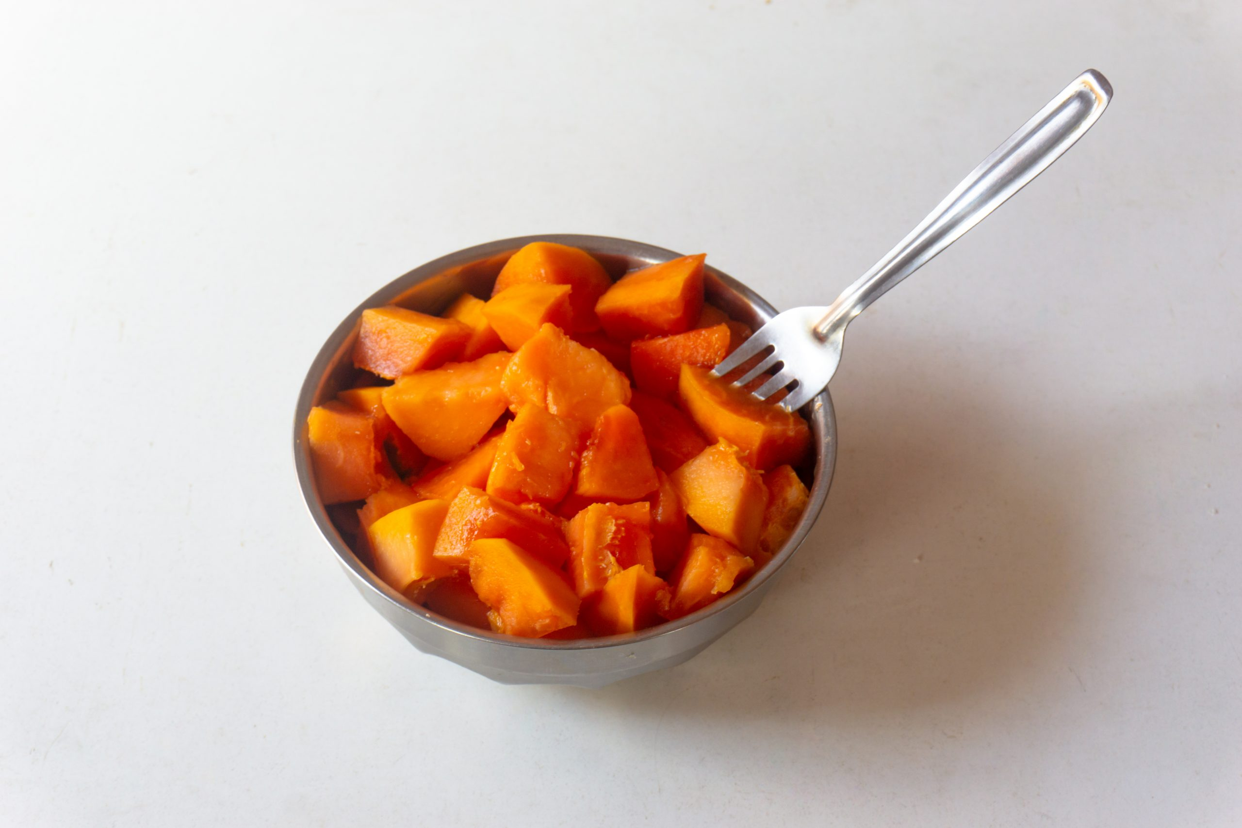 Papaya pieces in bowl