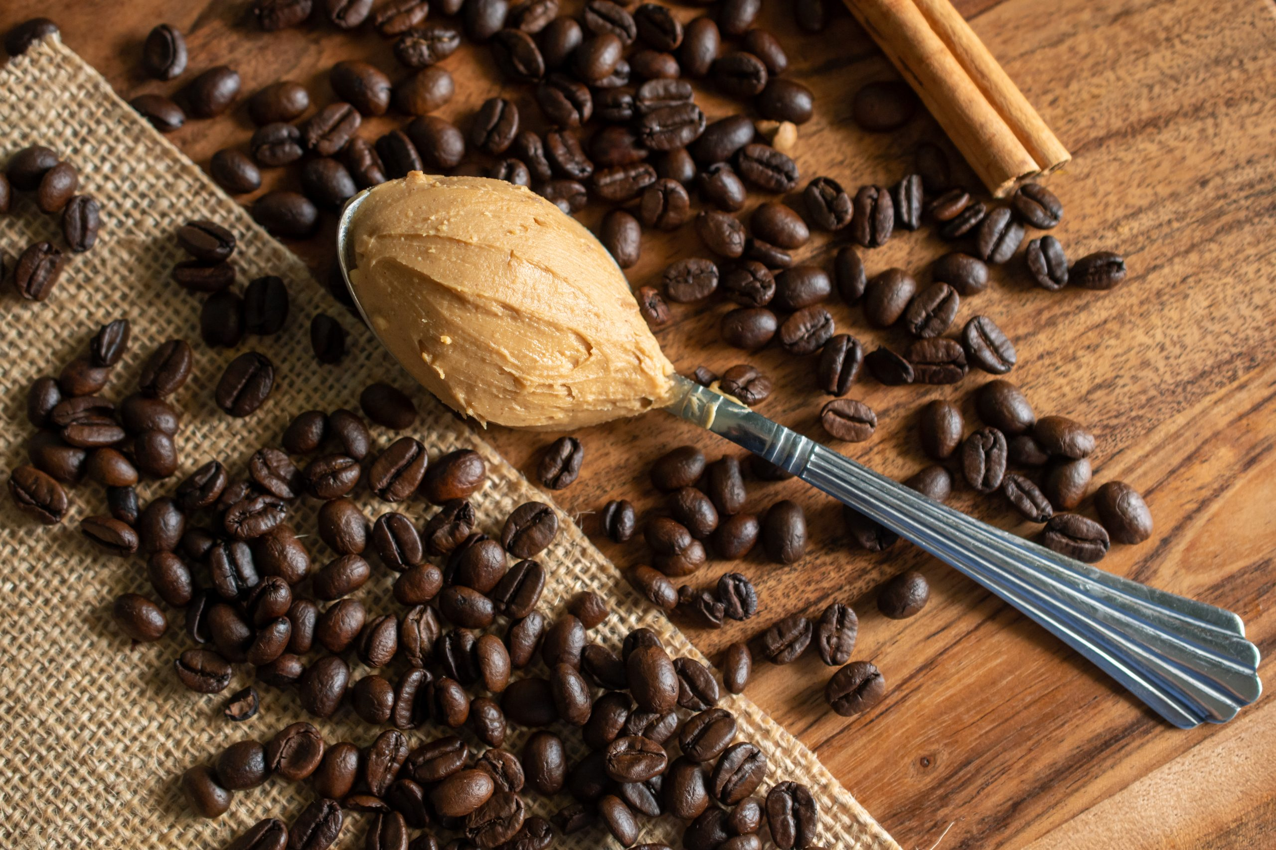 Peanut butter with coffee beans