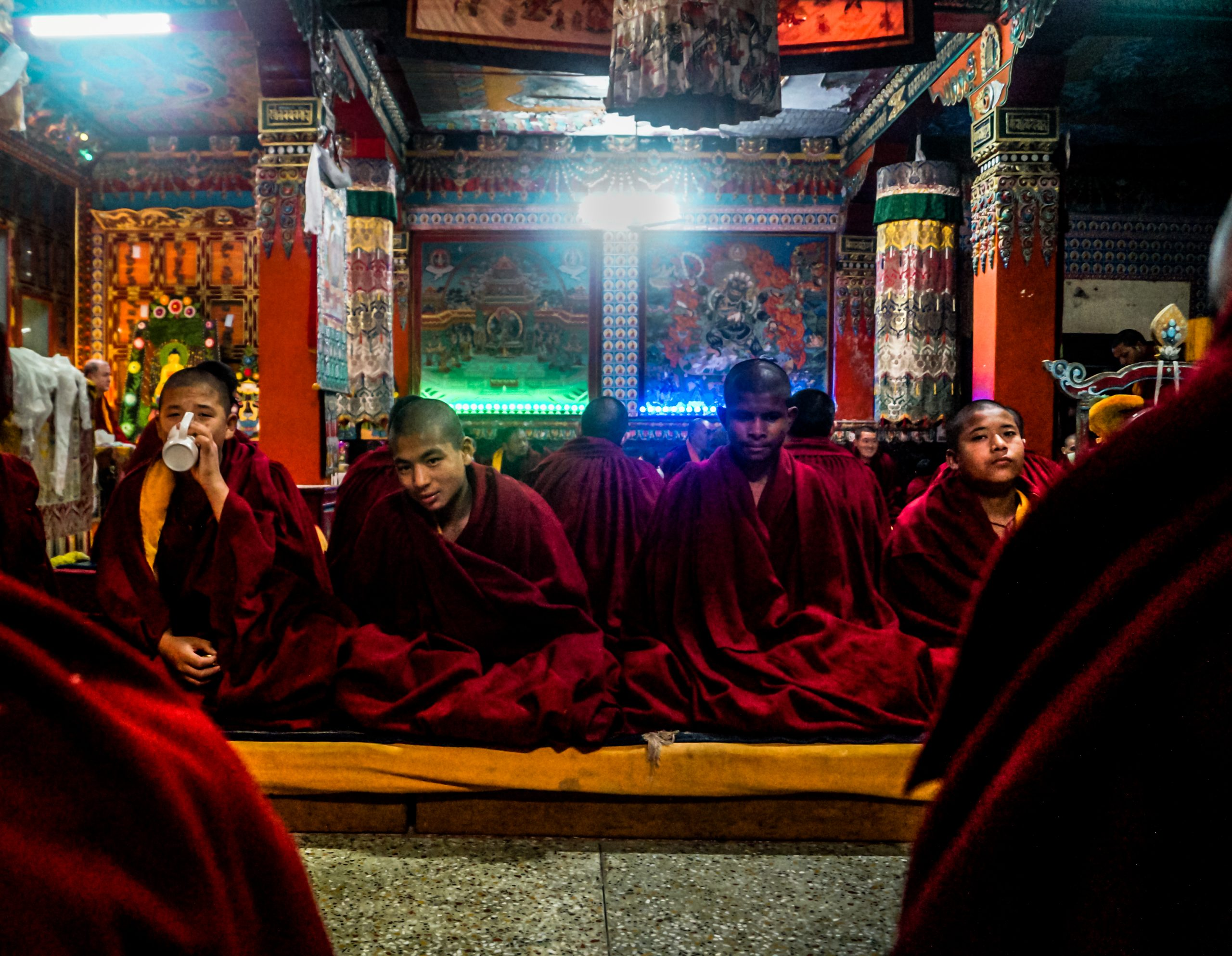 Priests in a temple