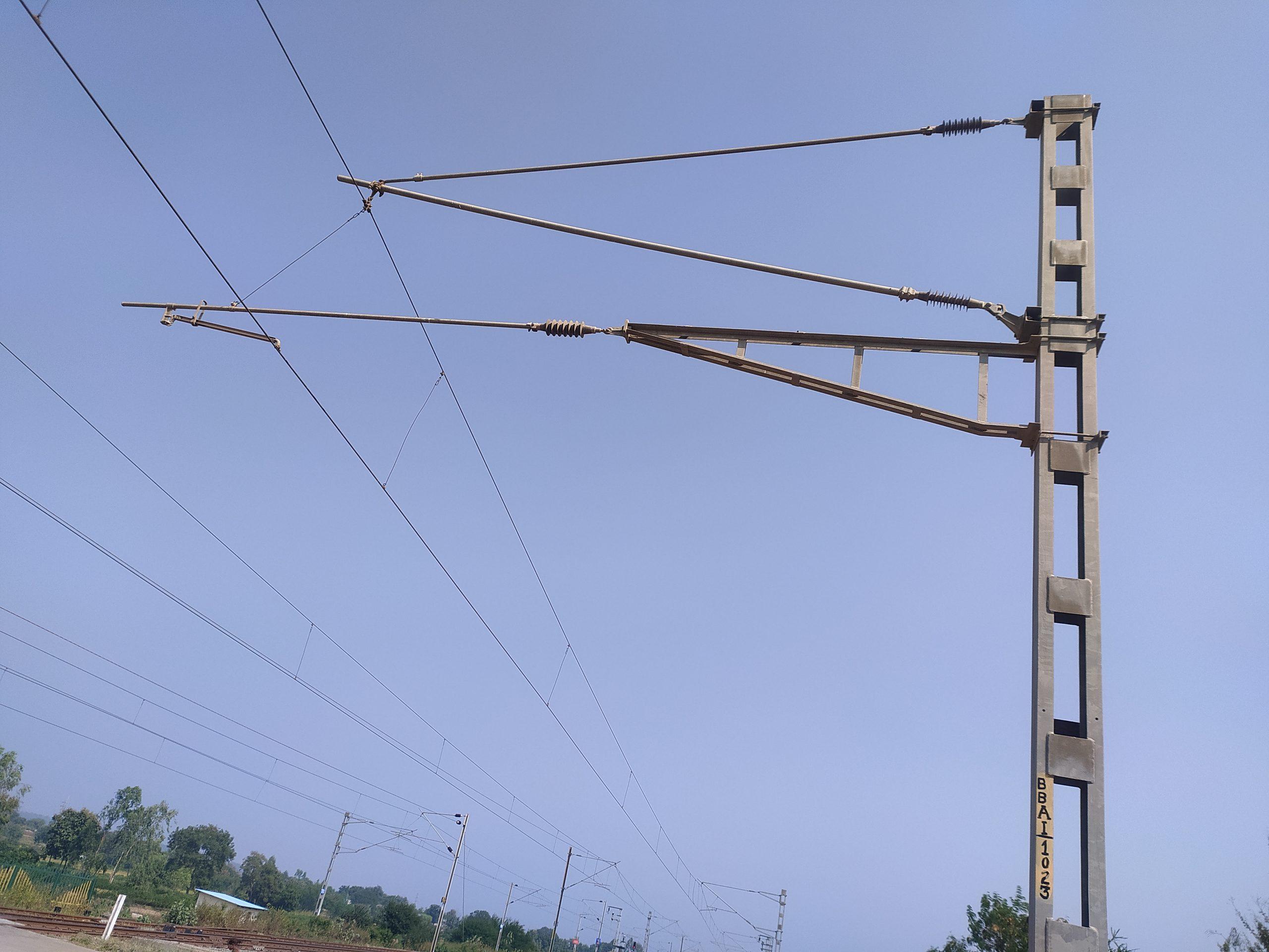 Railway electric pole line