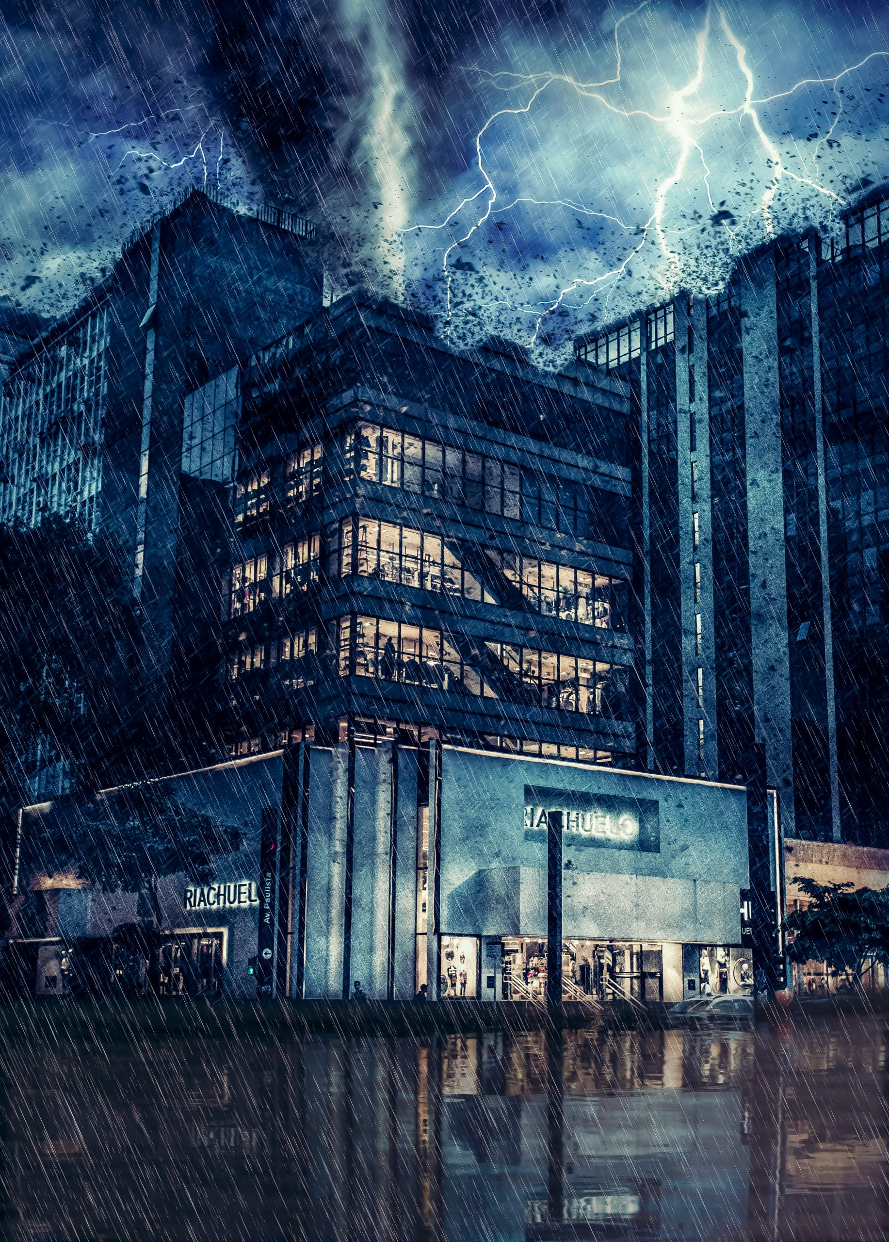 Rainy heavy storm on a building