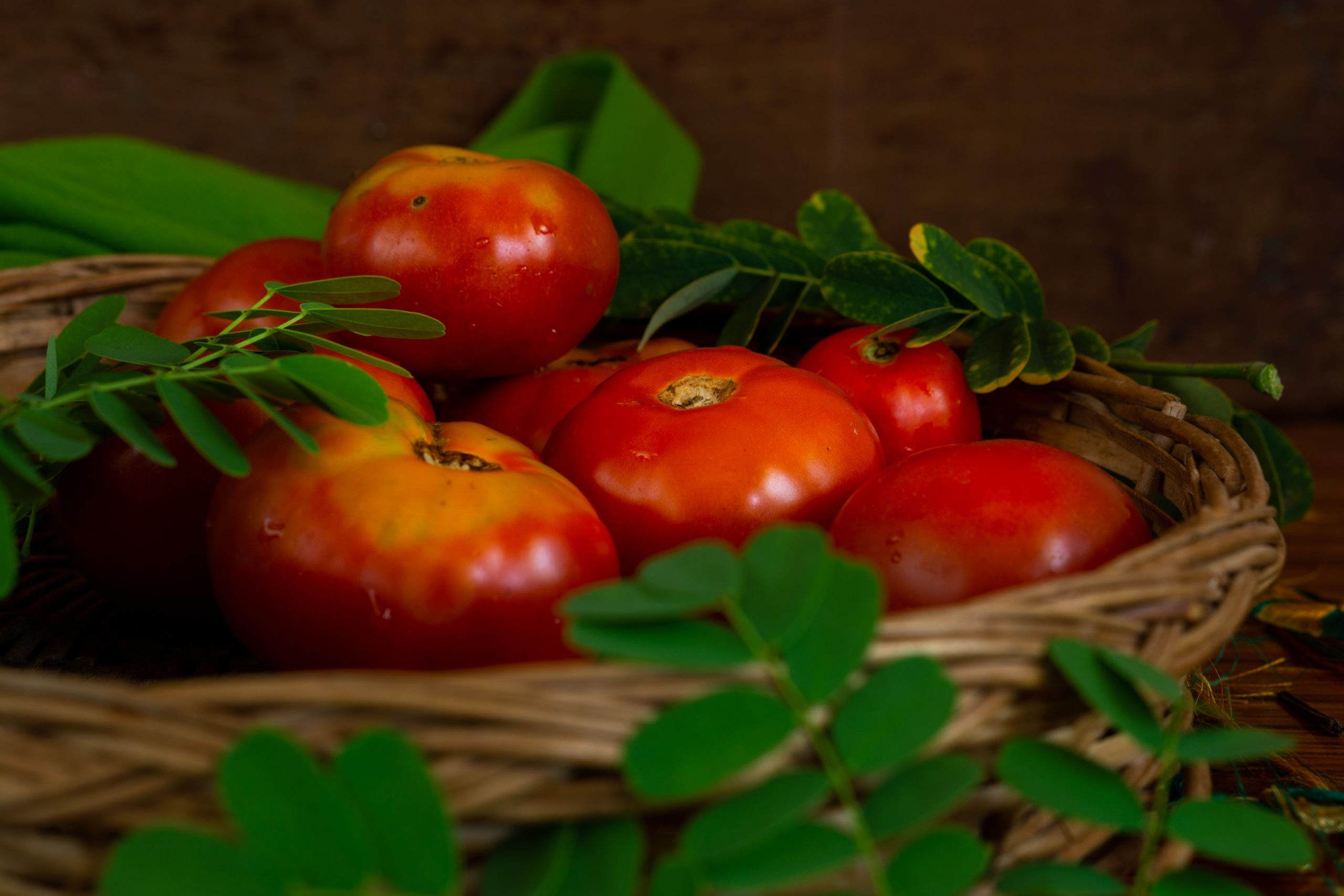 Red tomatoes in a basket