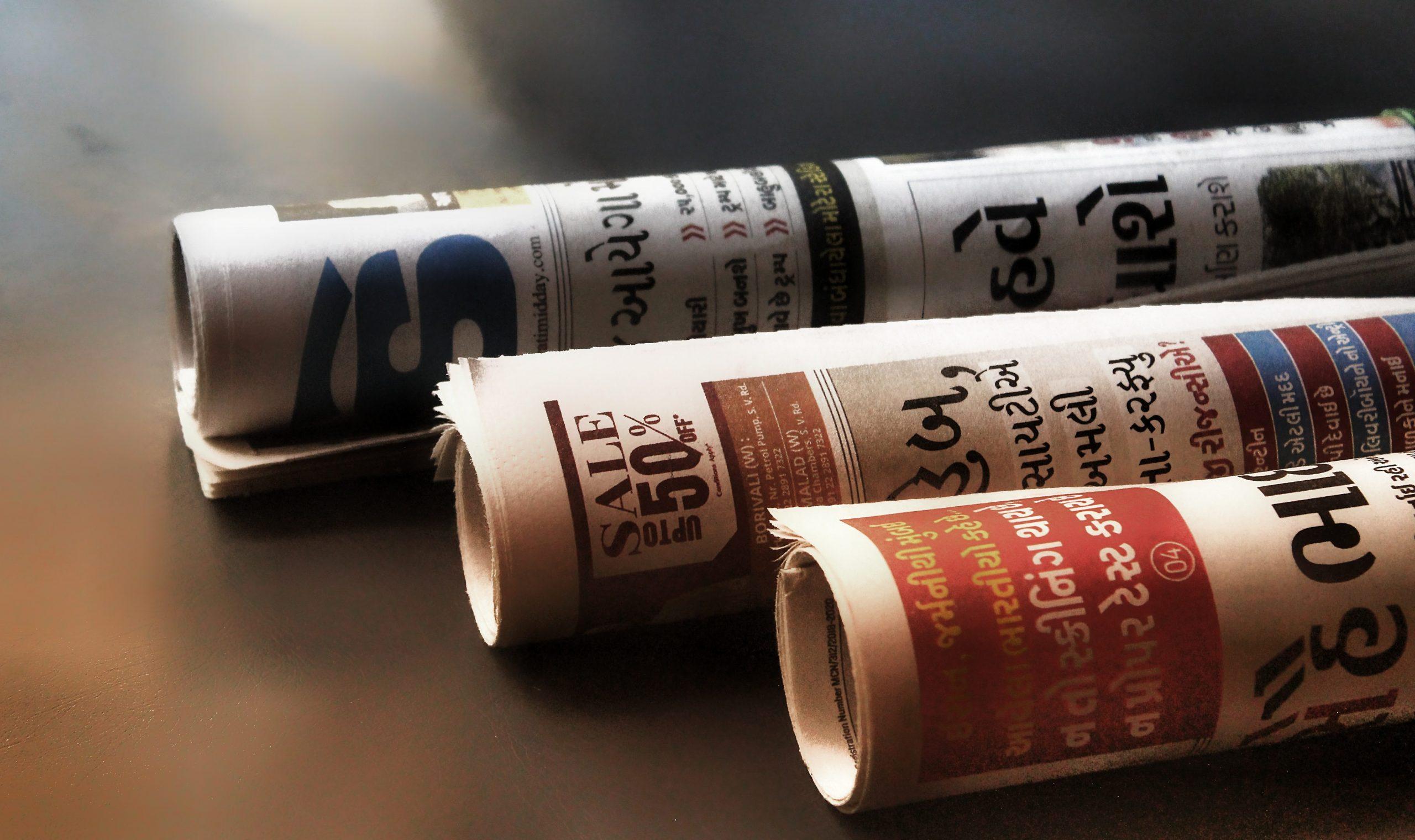 Rolls of newspaper