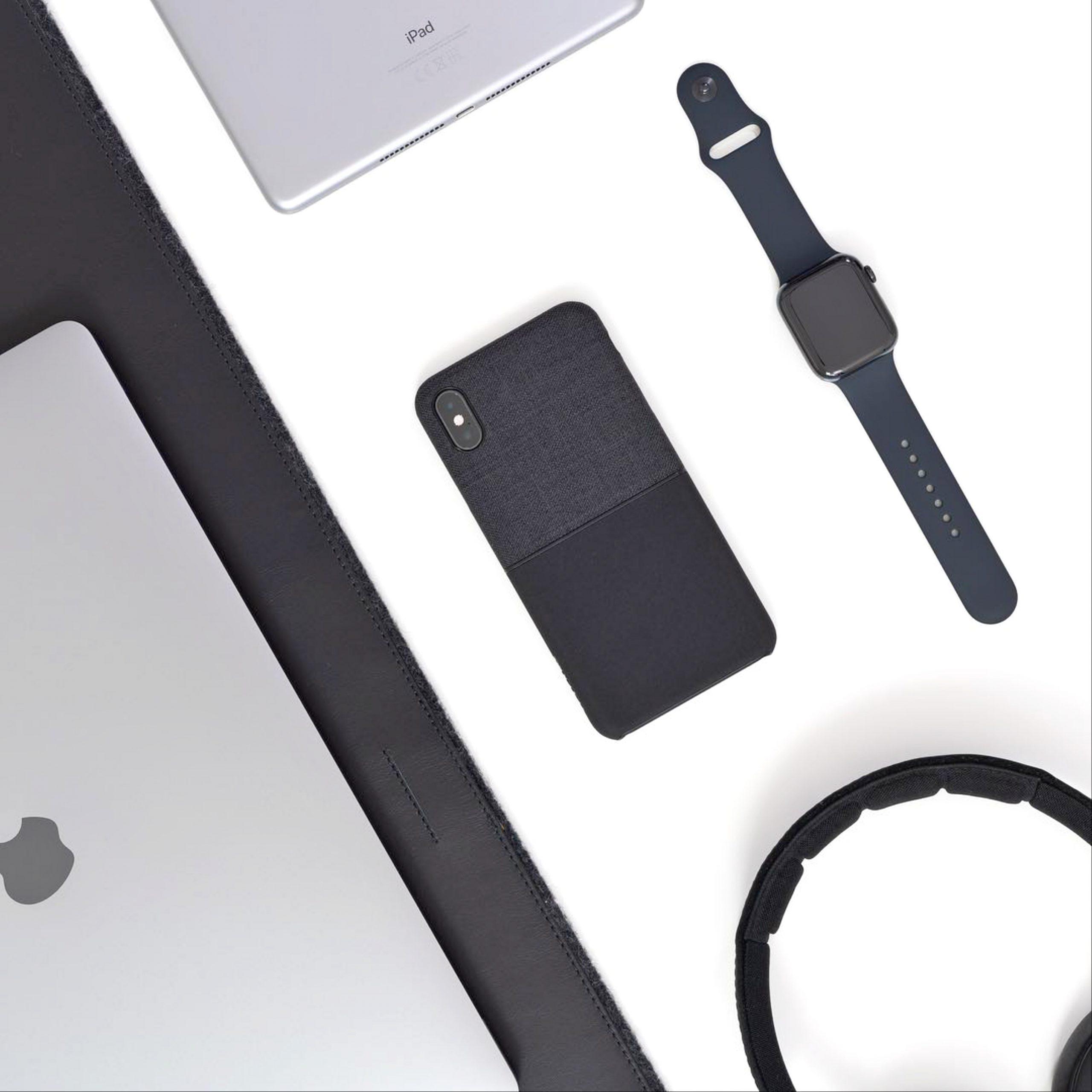 mobile, laptop, watch, tablet, headphones