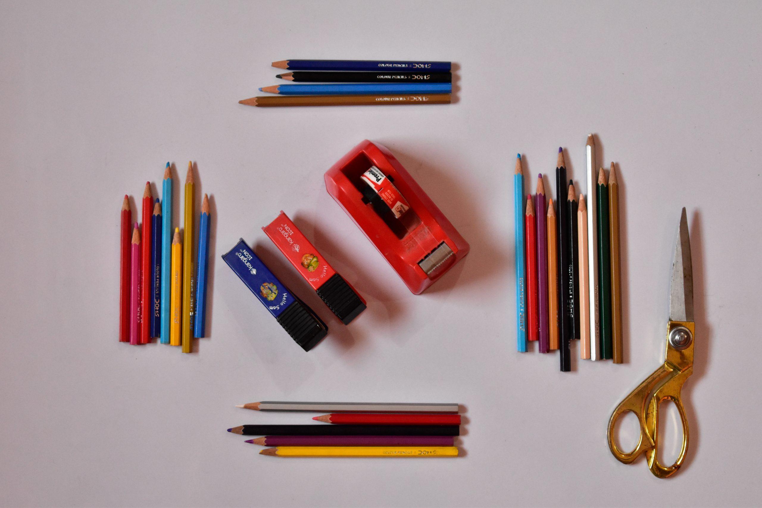 color pencils, scissors, cello tape