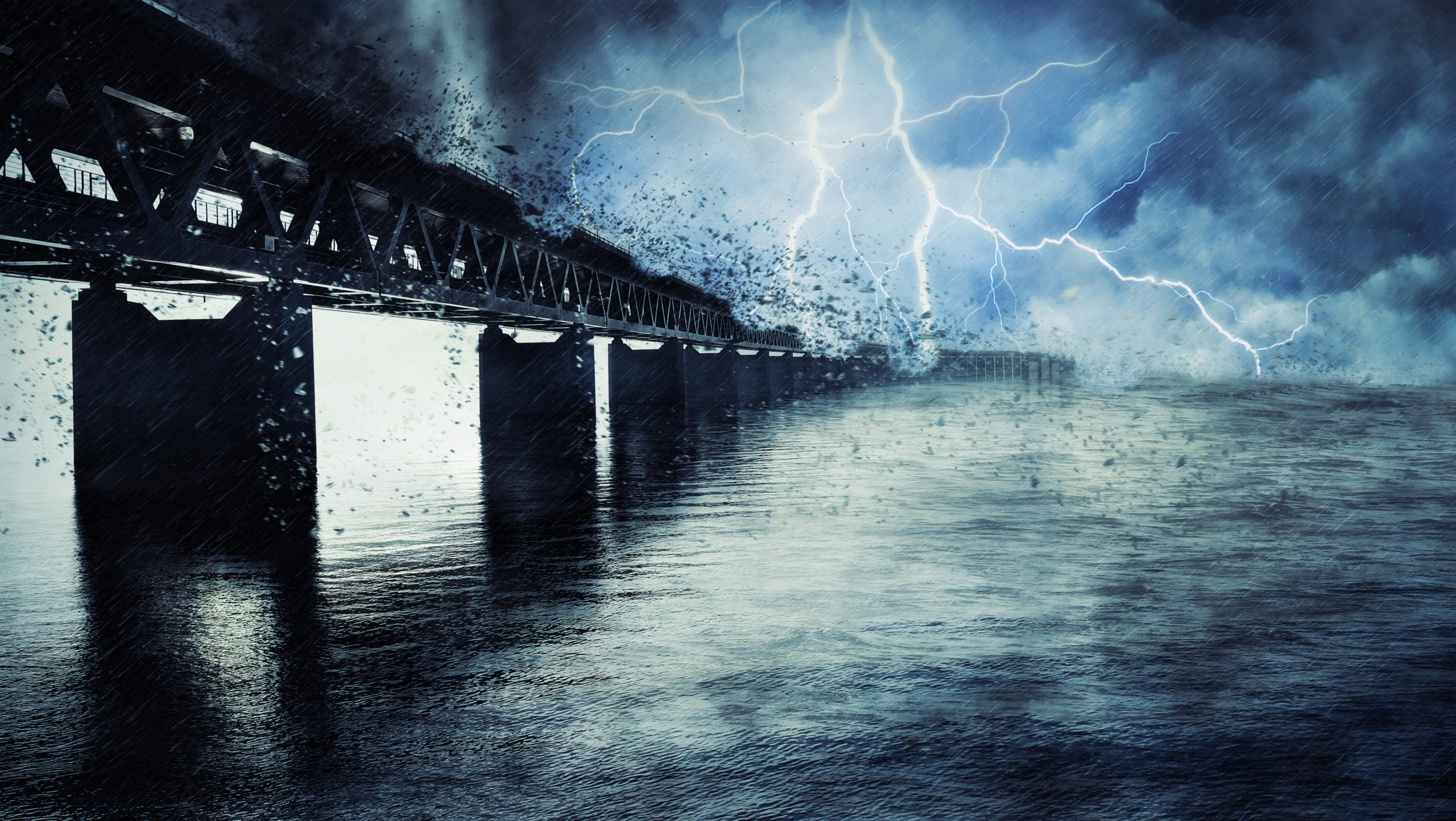 Thunderstorm near a bridge