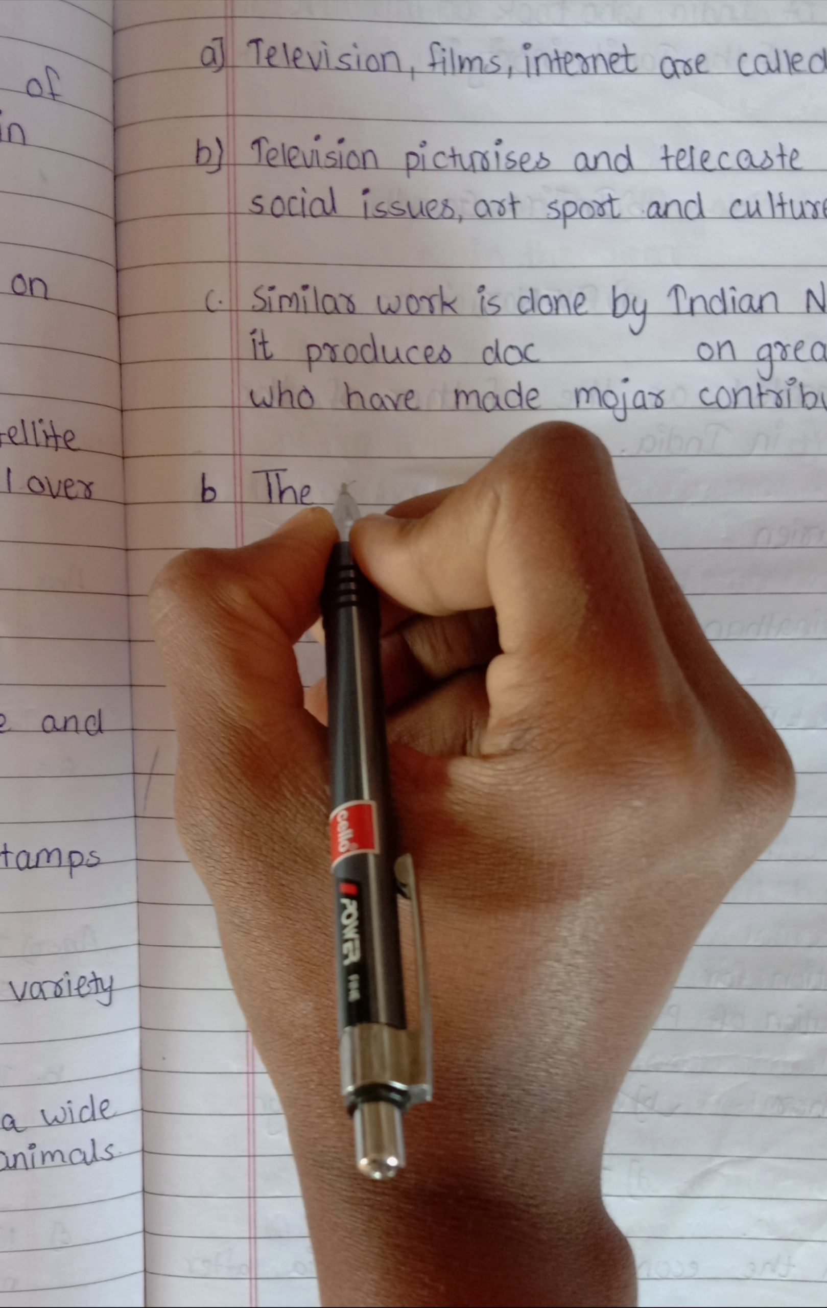 A student making notes