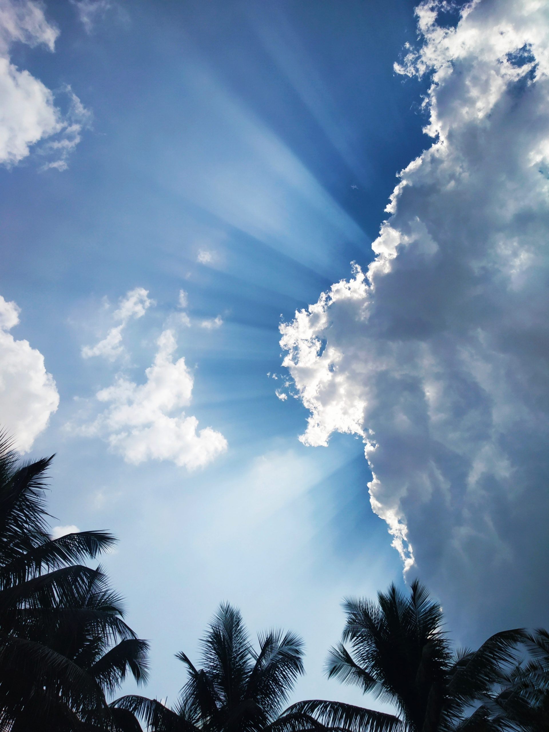 sun rays shining behind clouds