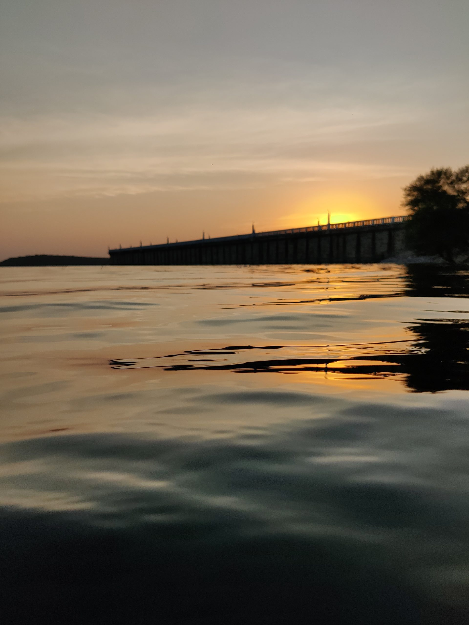 sunset at a dam