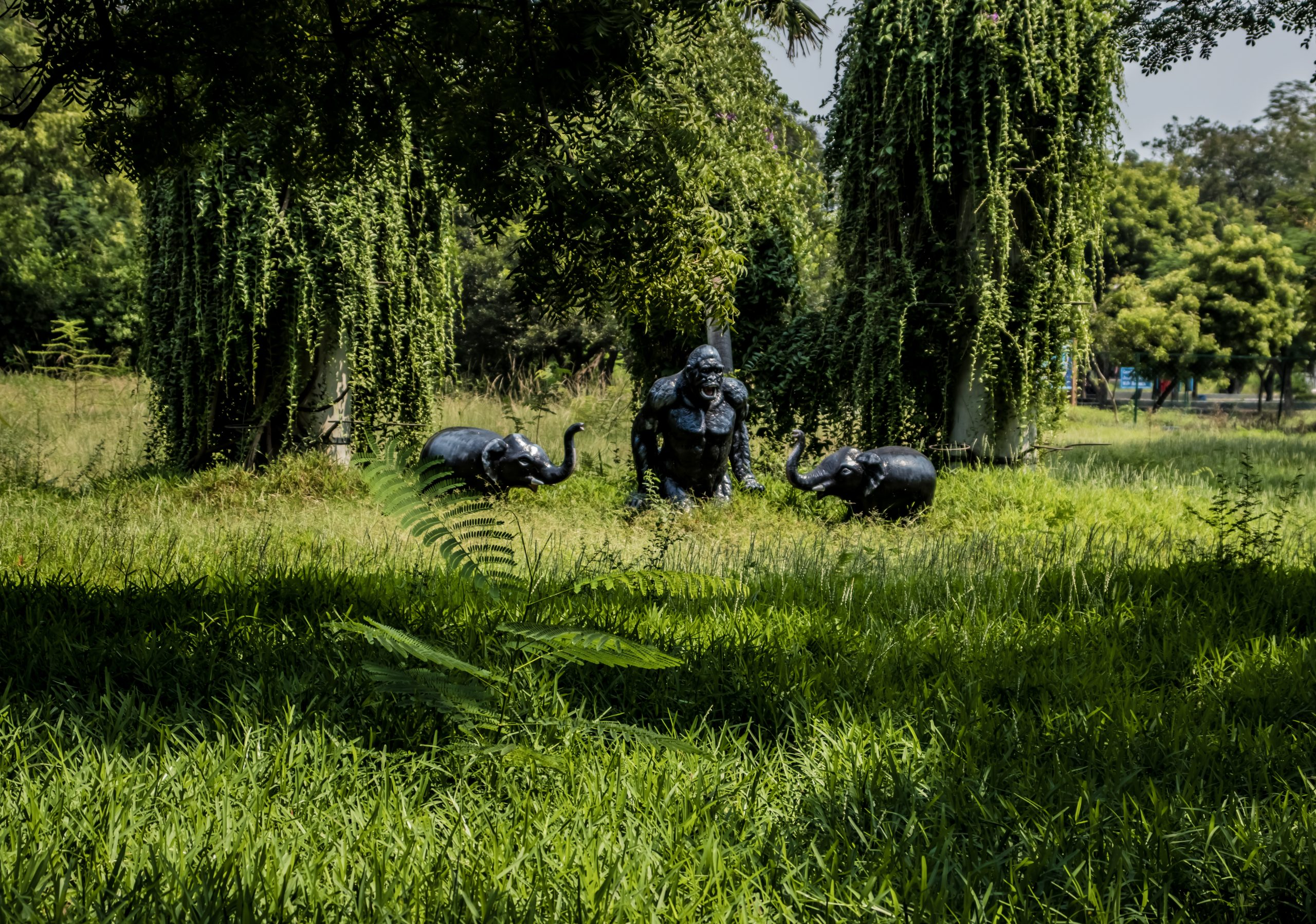 Monkey and elephant statues