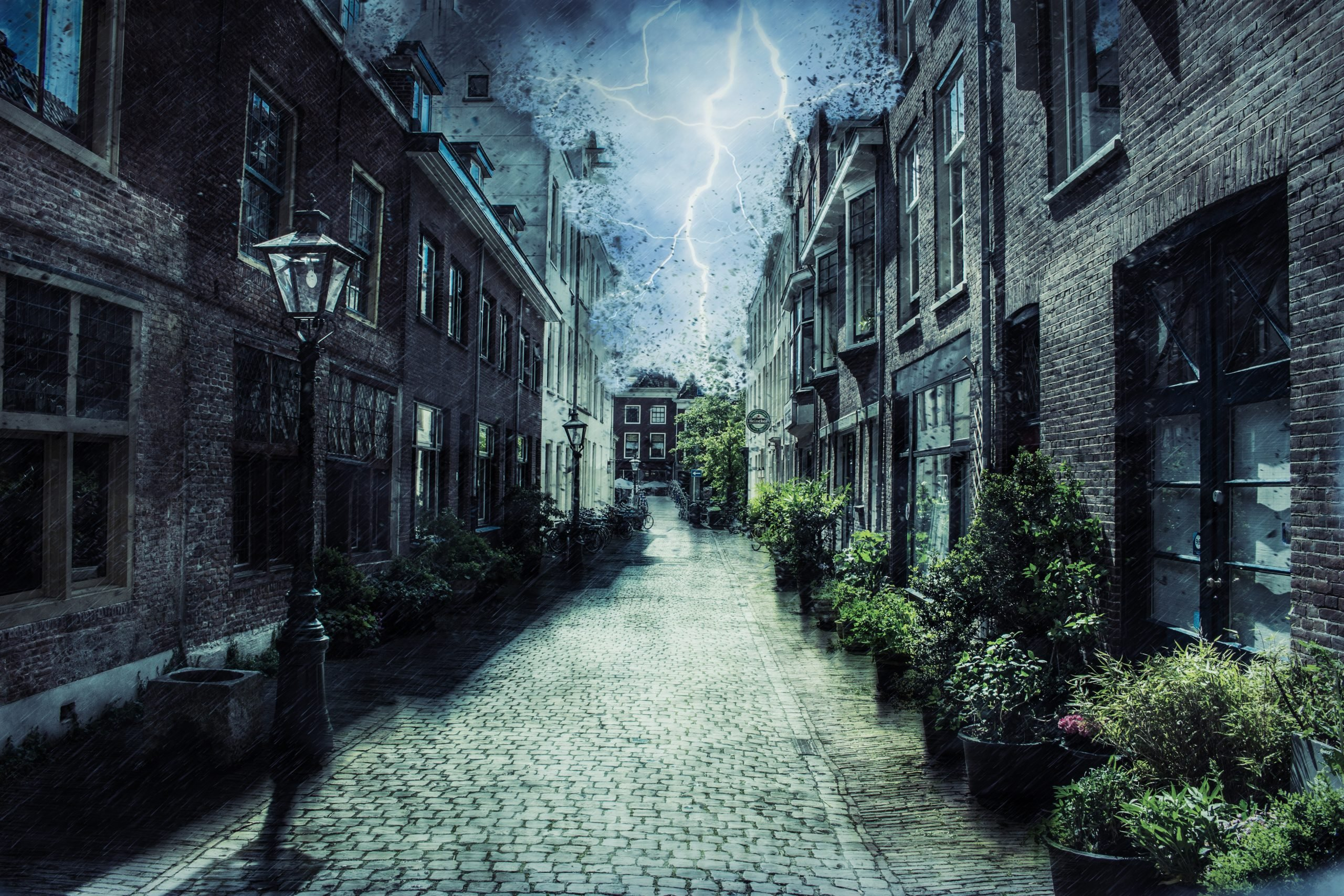 Thunderstorm near houses