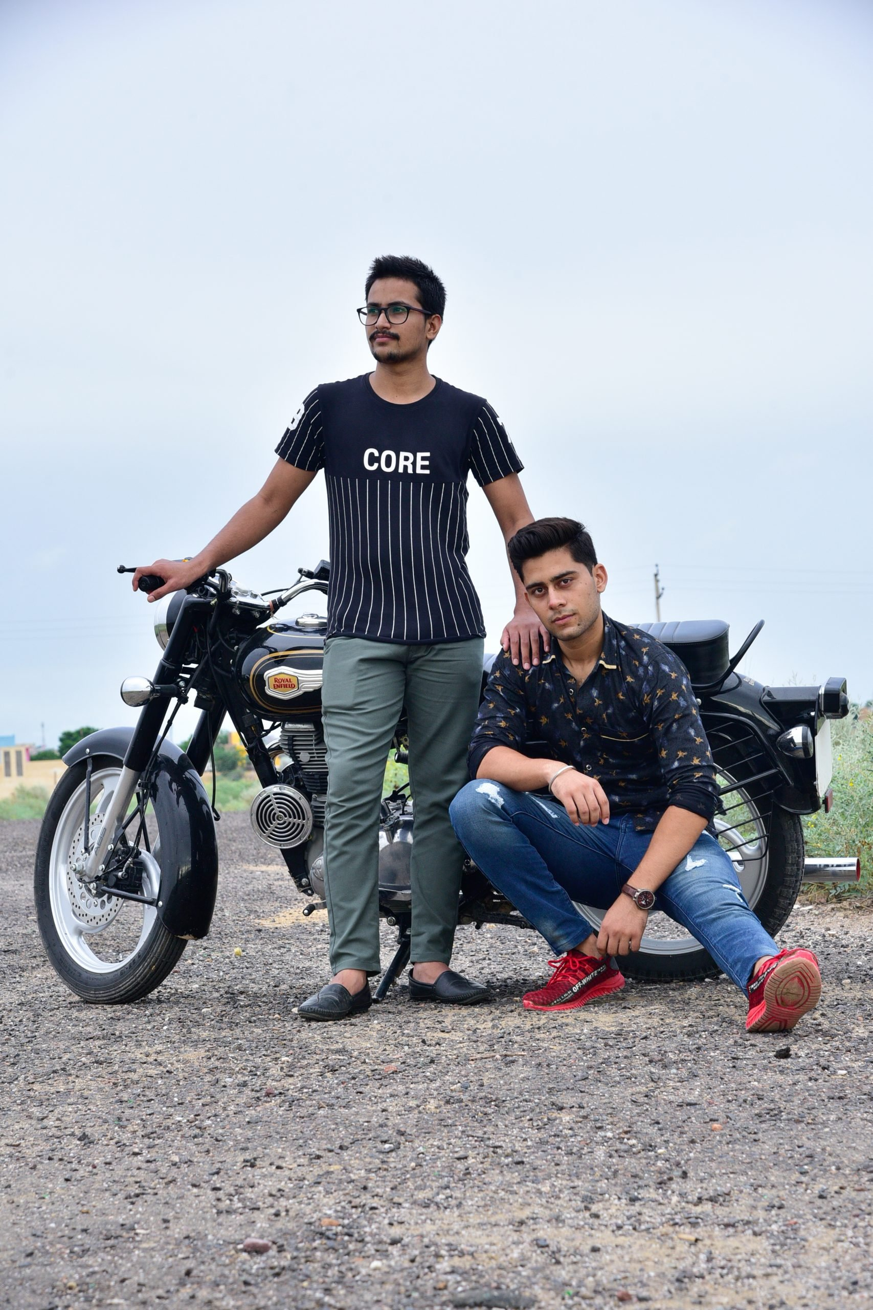 Two boys with bullet bike