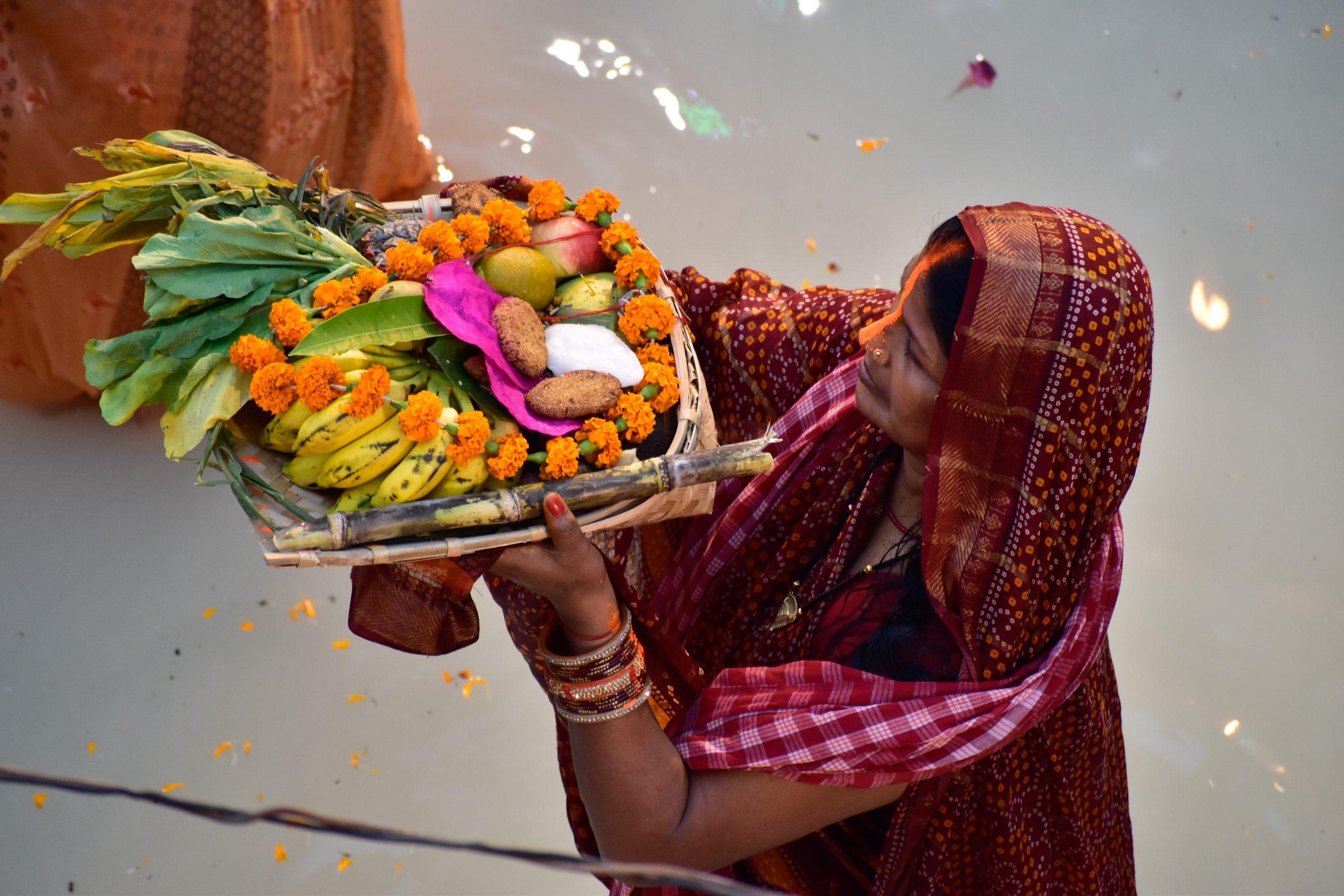 Woman Celebrating Chhath Puja