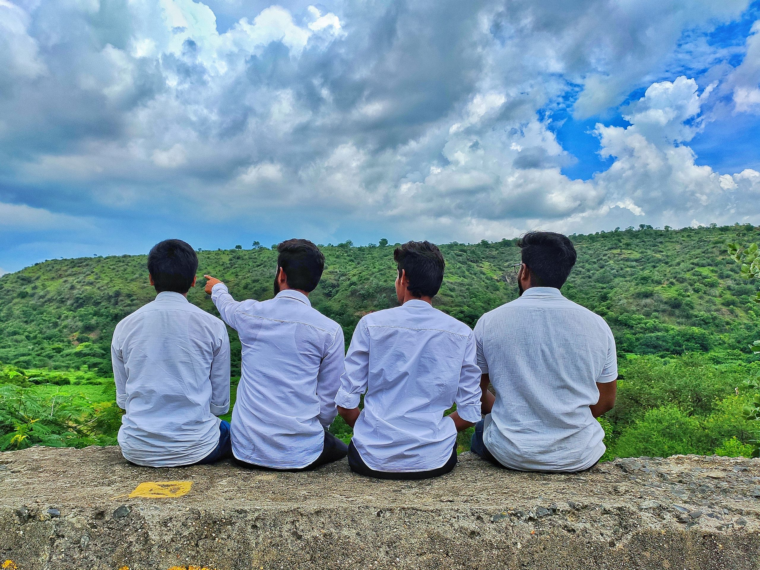 friends admiring nature