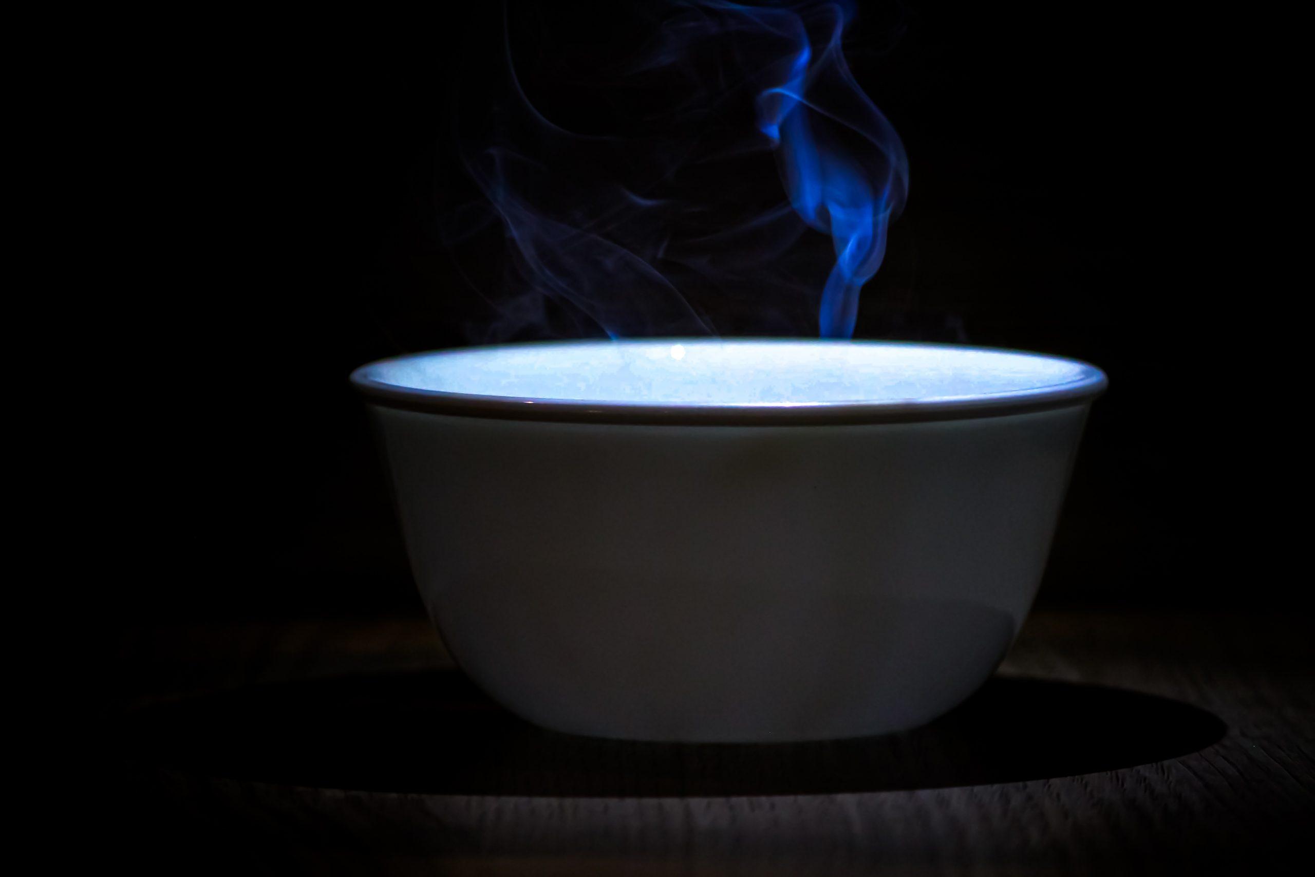A hot liquid in a bowl