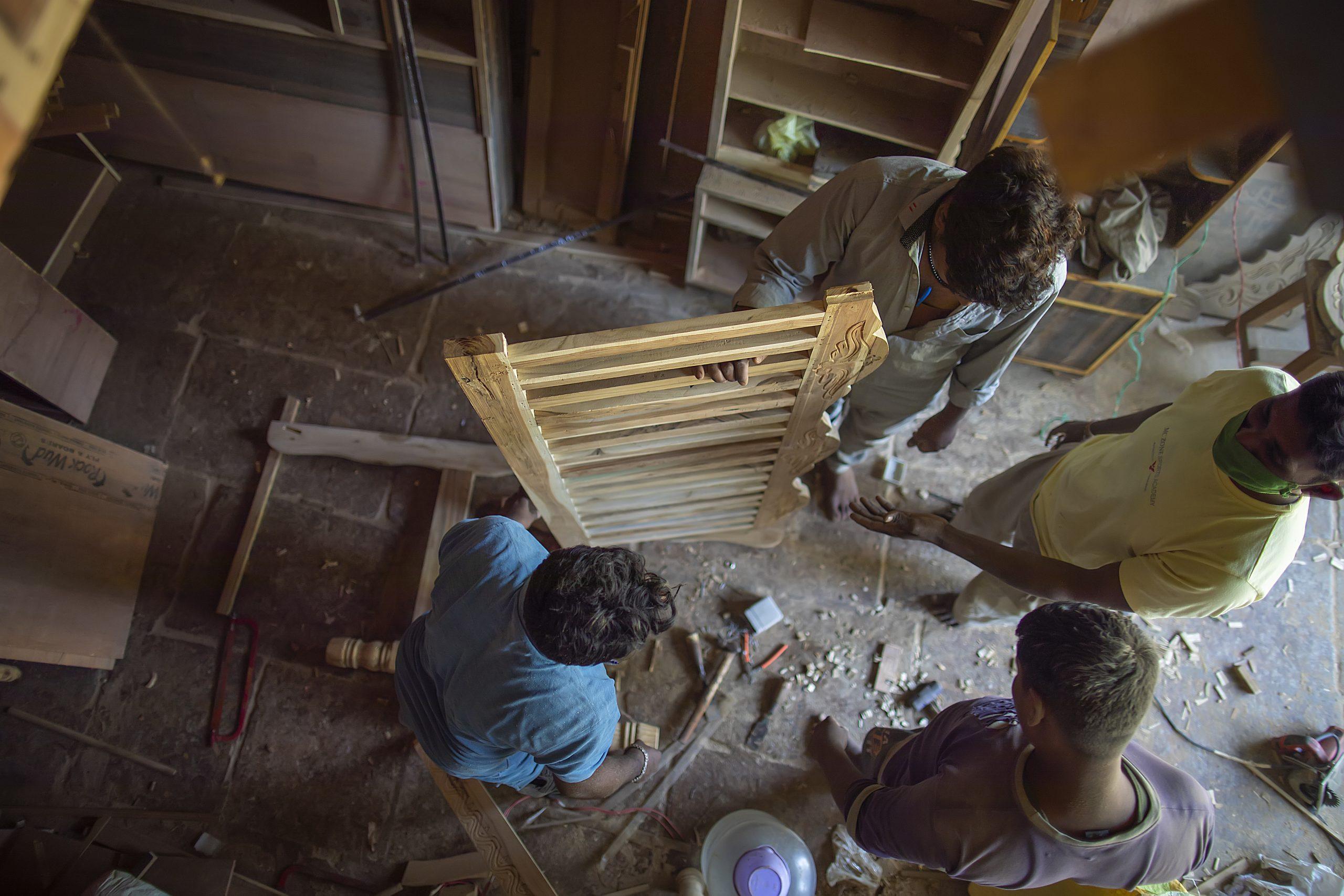 Carpenter work in a building
