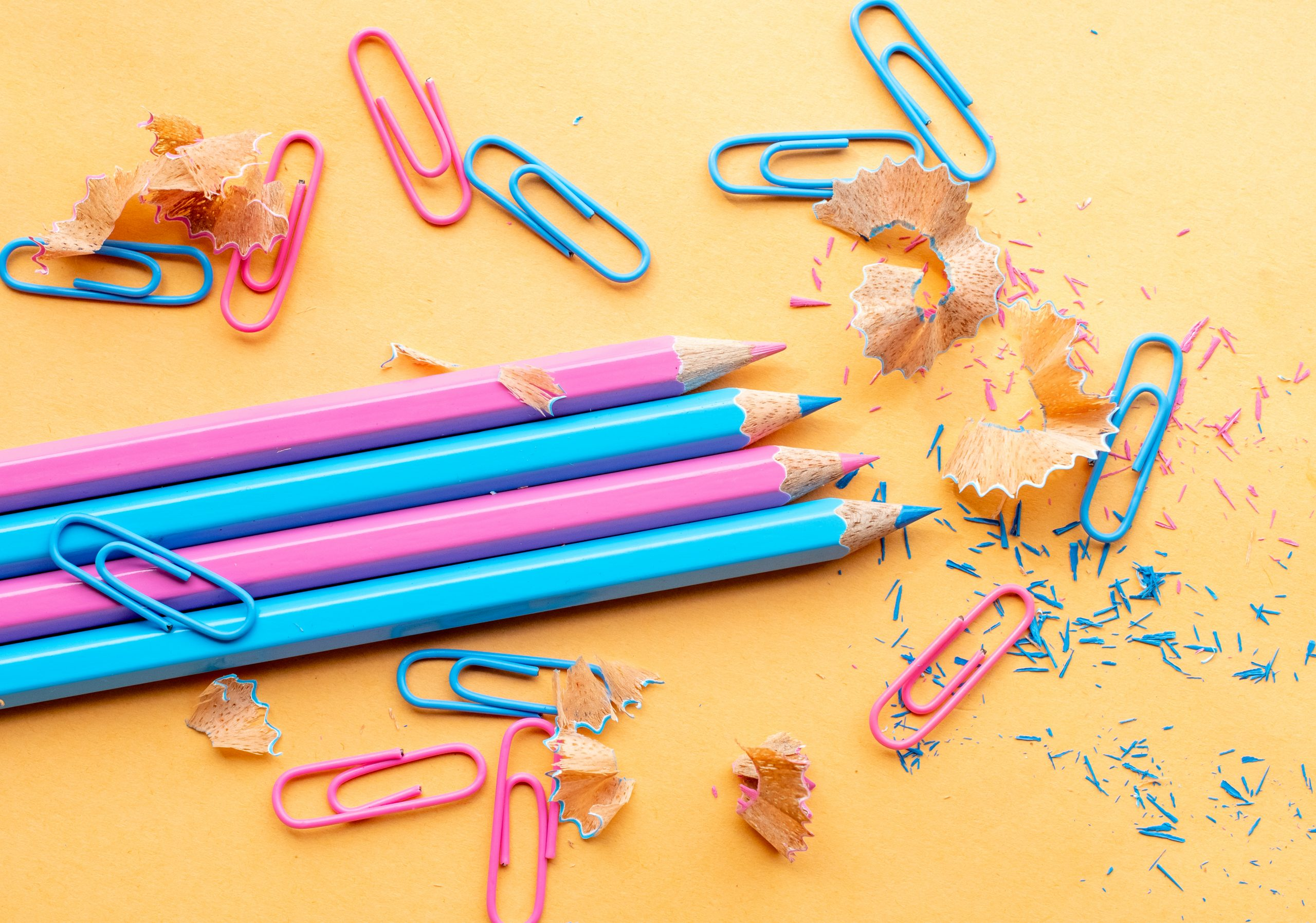 colour pencils and paper-clips
