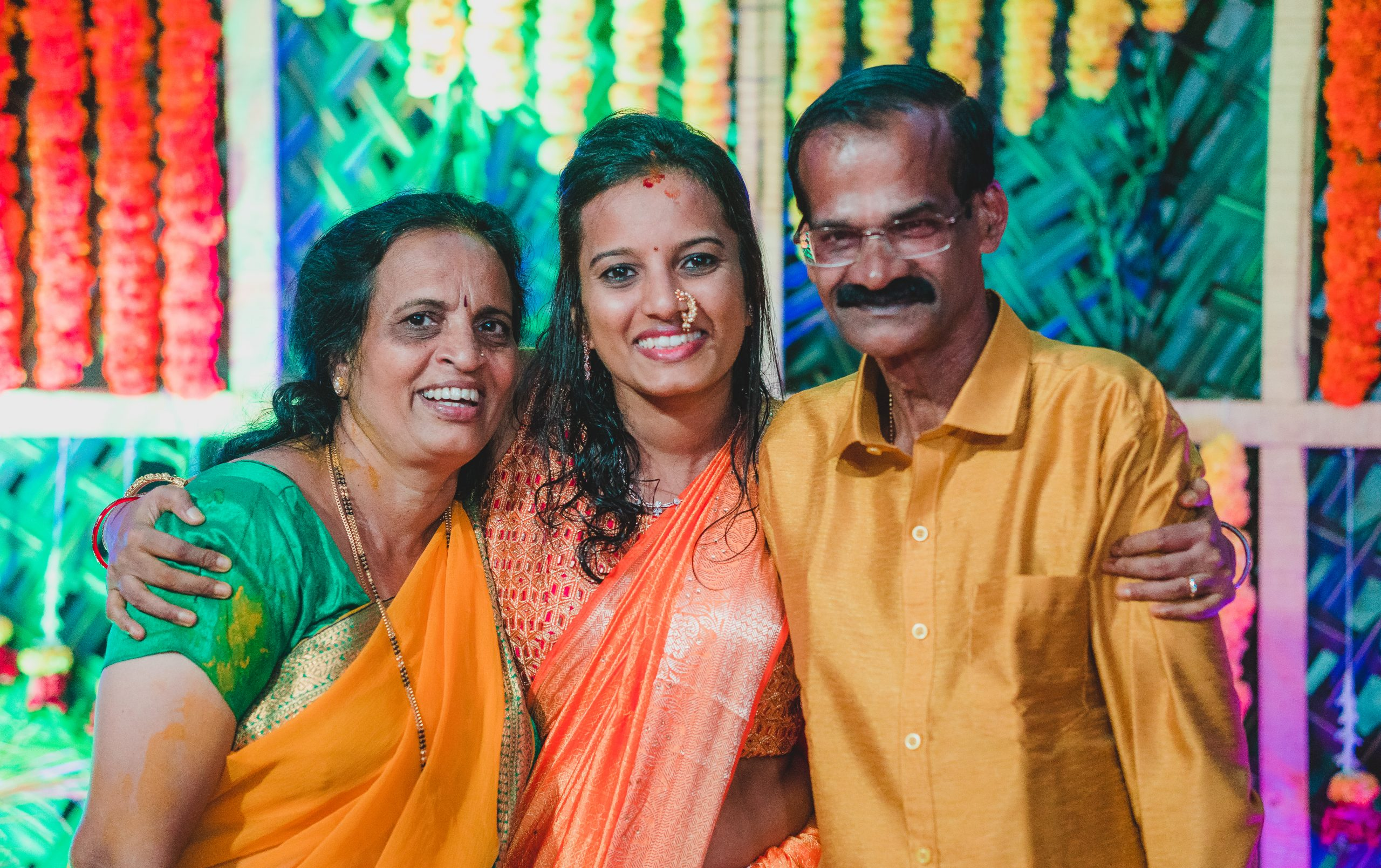 A girl with her parents