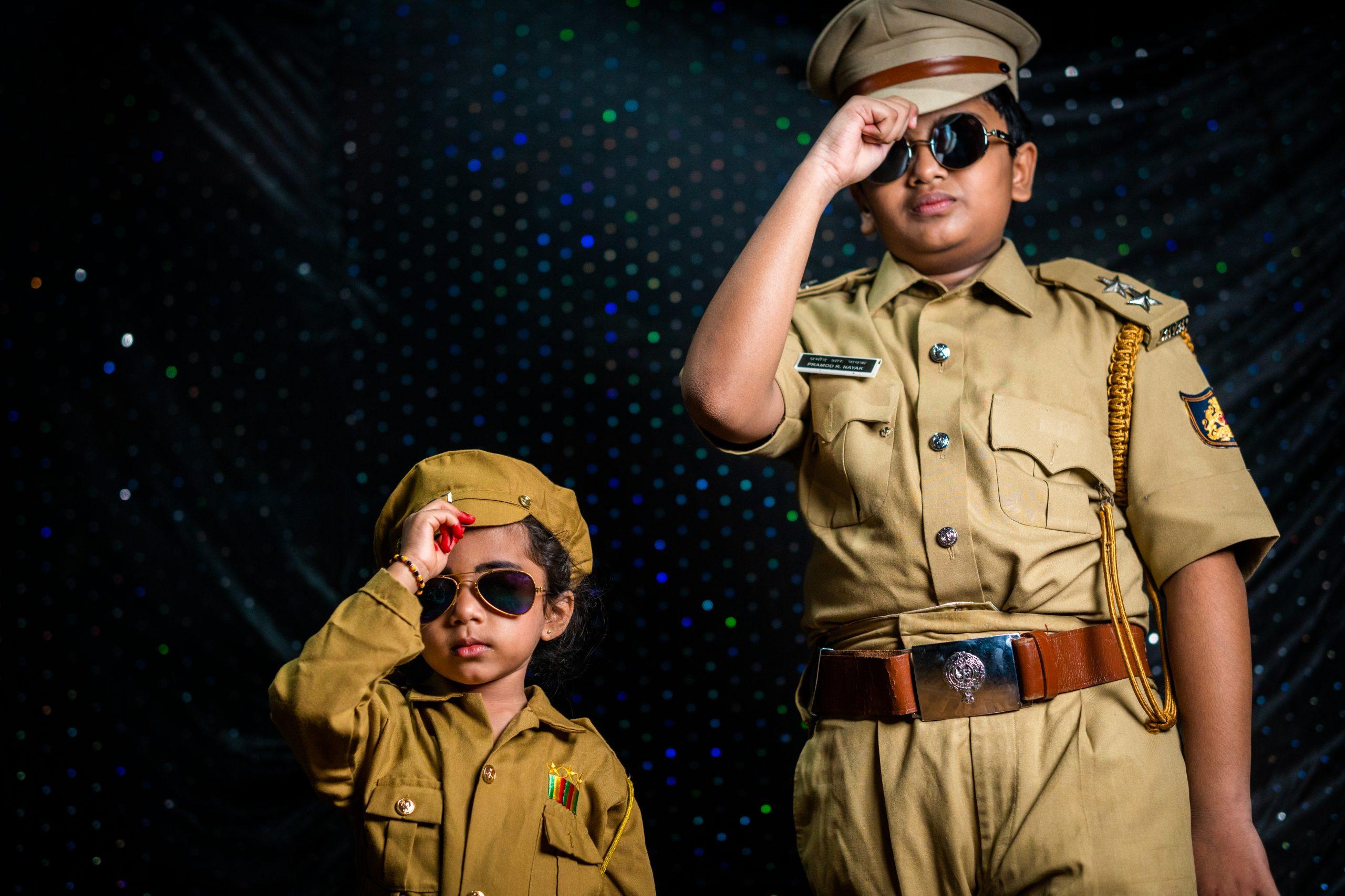 Kids in police dress