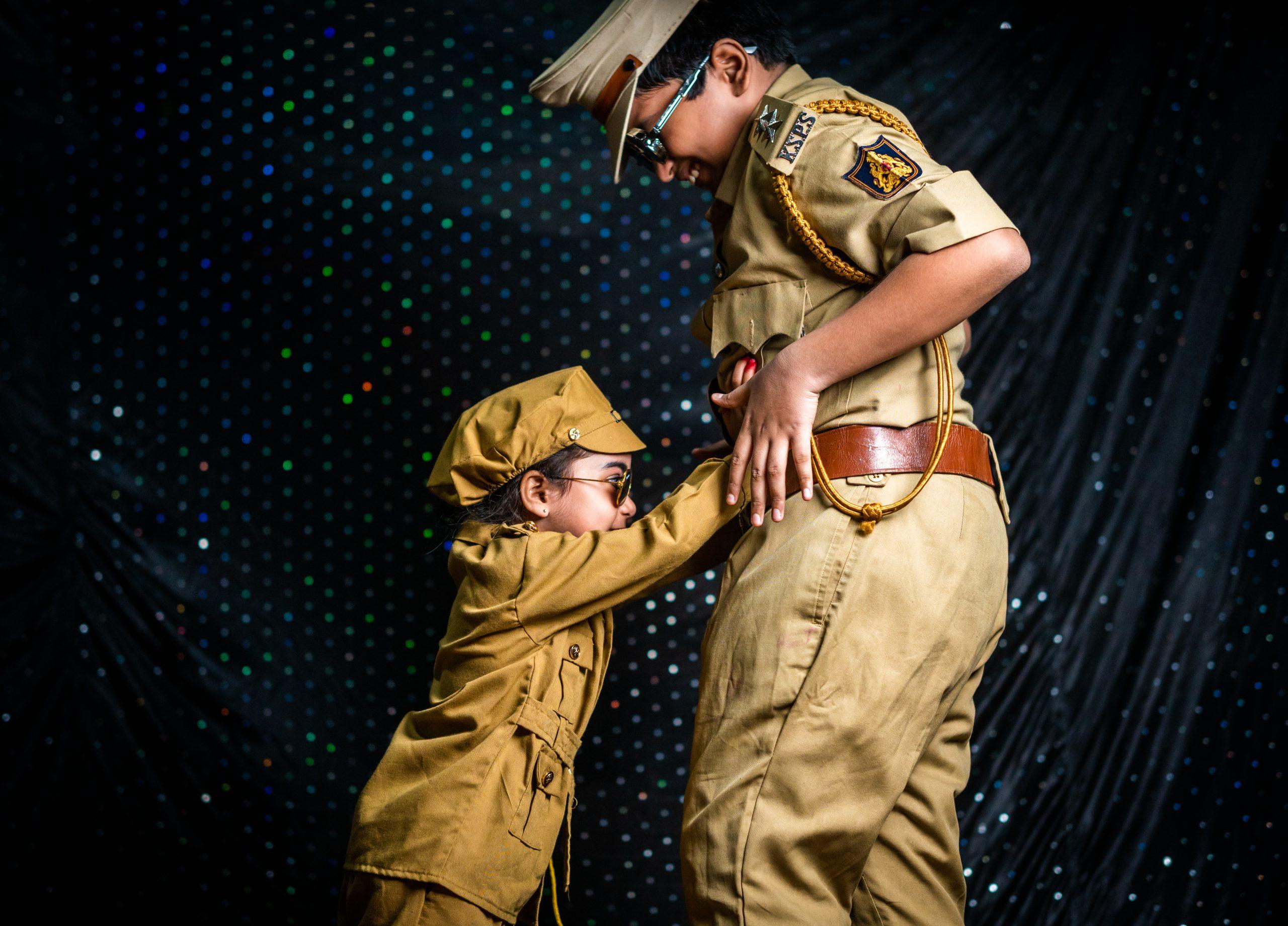 Kids in police getup