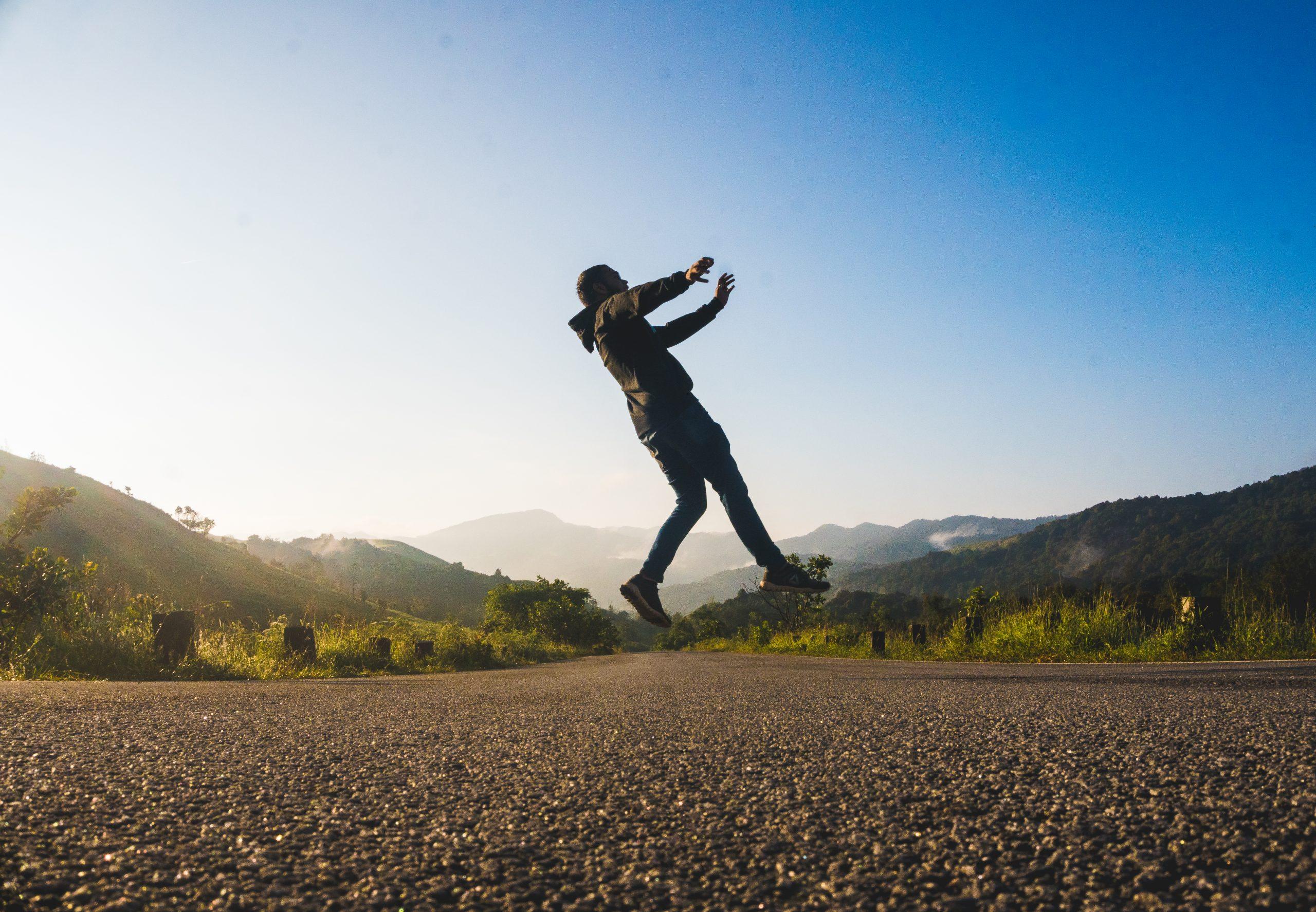 A boy jumping in joy