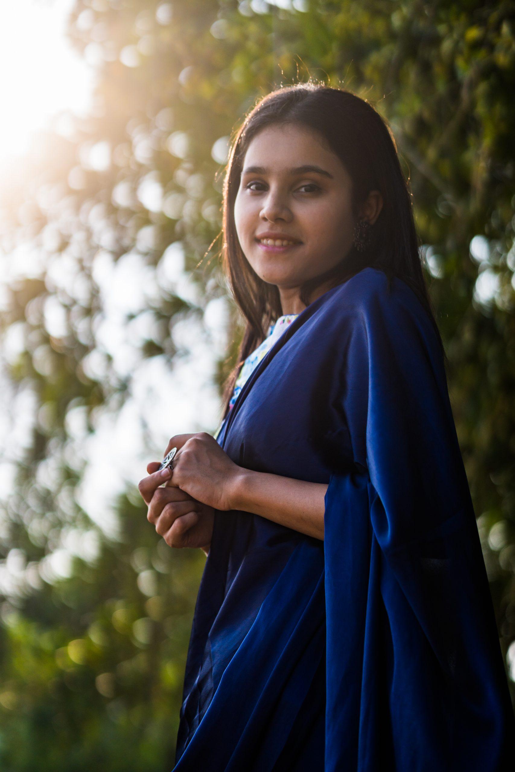 girl posing in saree