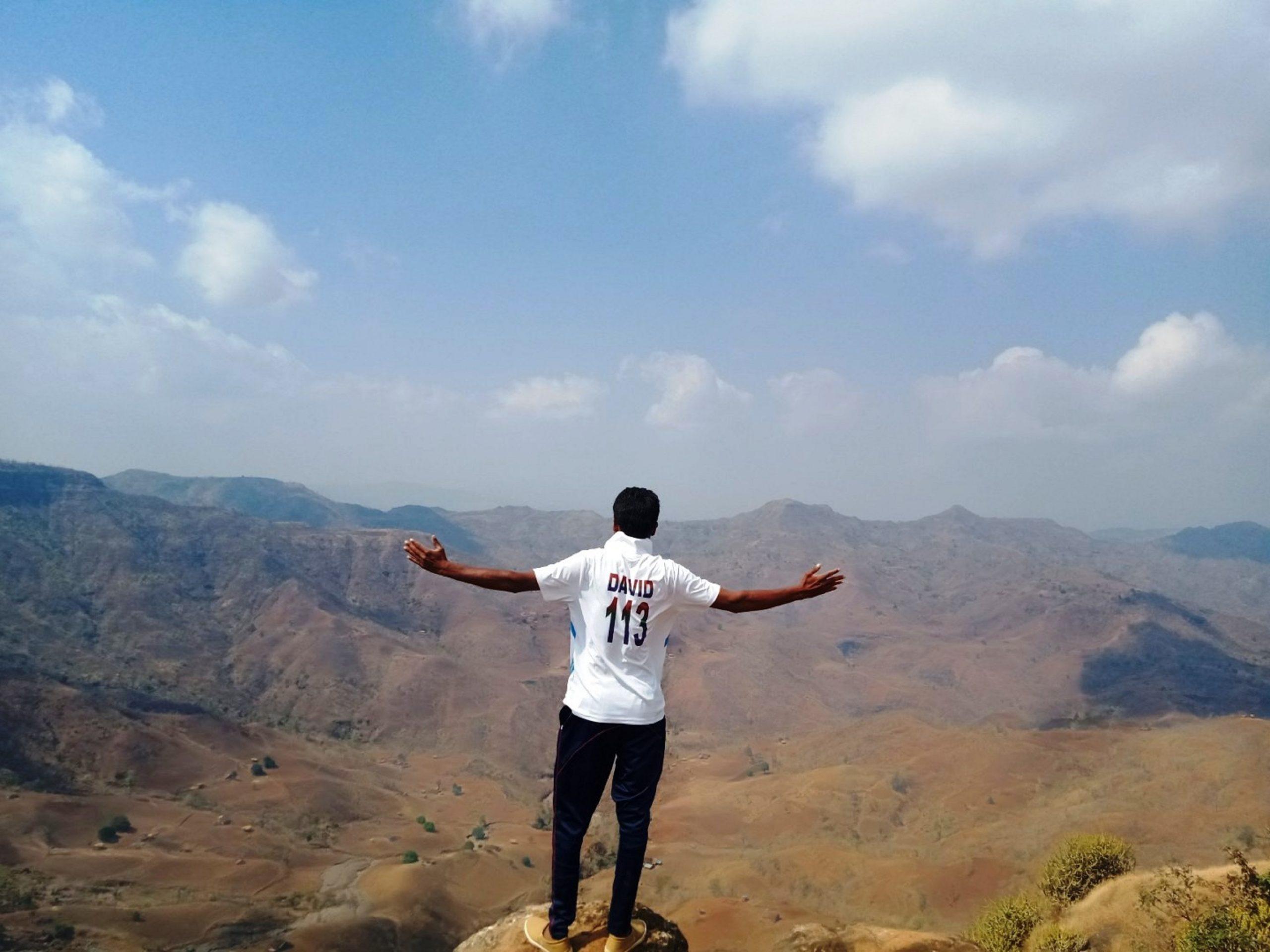 A man on a mountain top