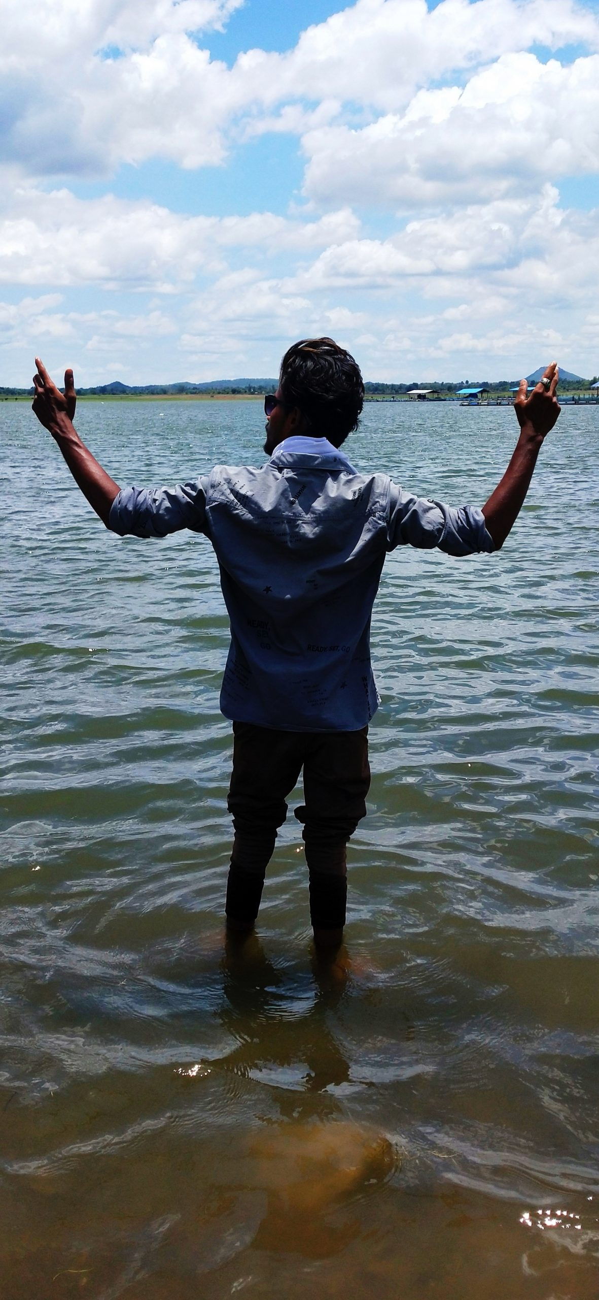 A boy enjoying in water