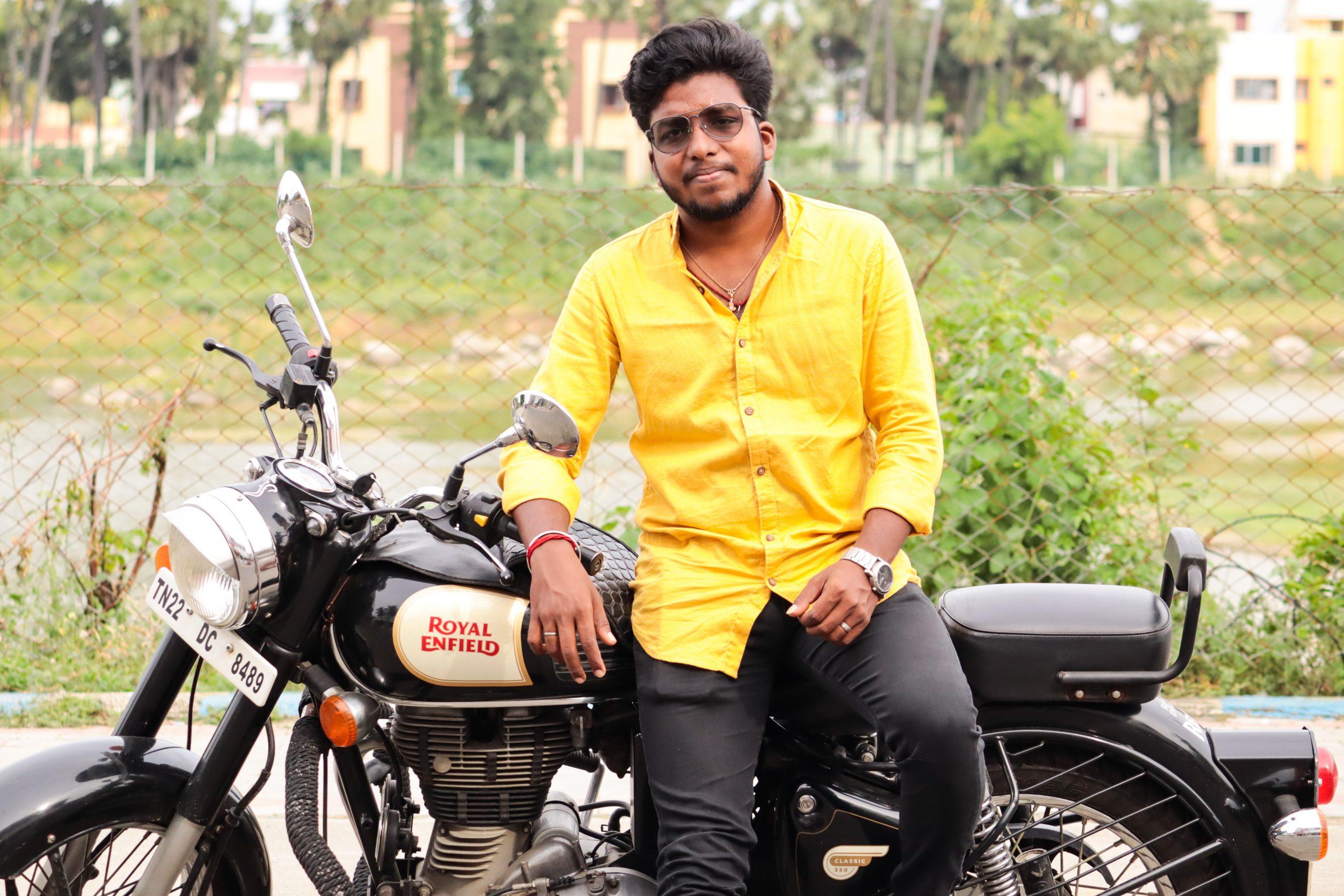 A boy on a bullet bike
