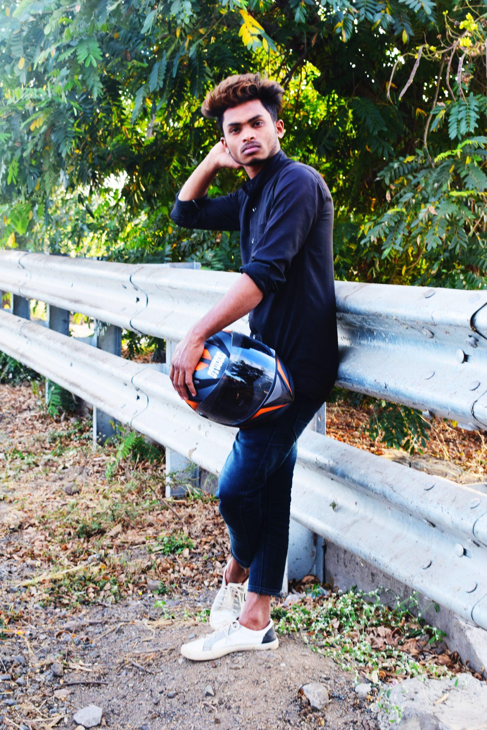 A boy with helmet