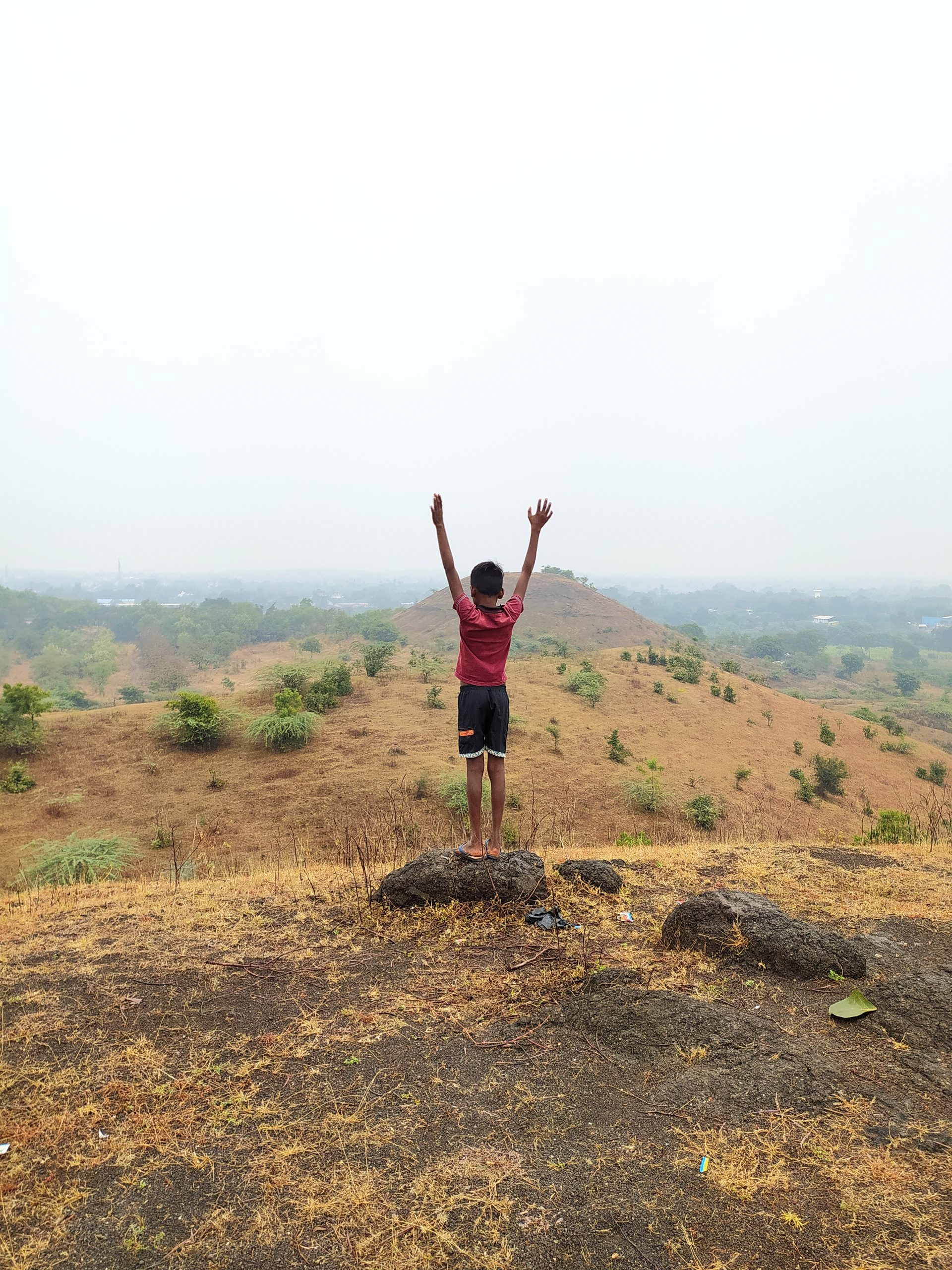 A child on a mountain top