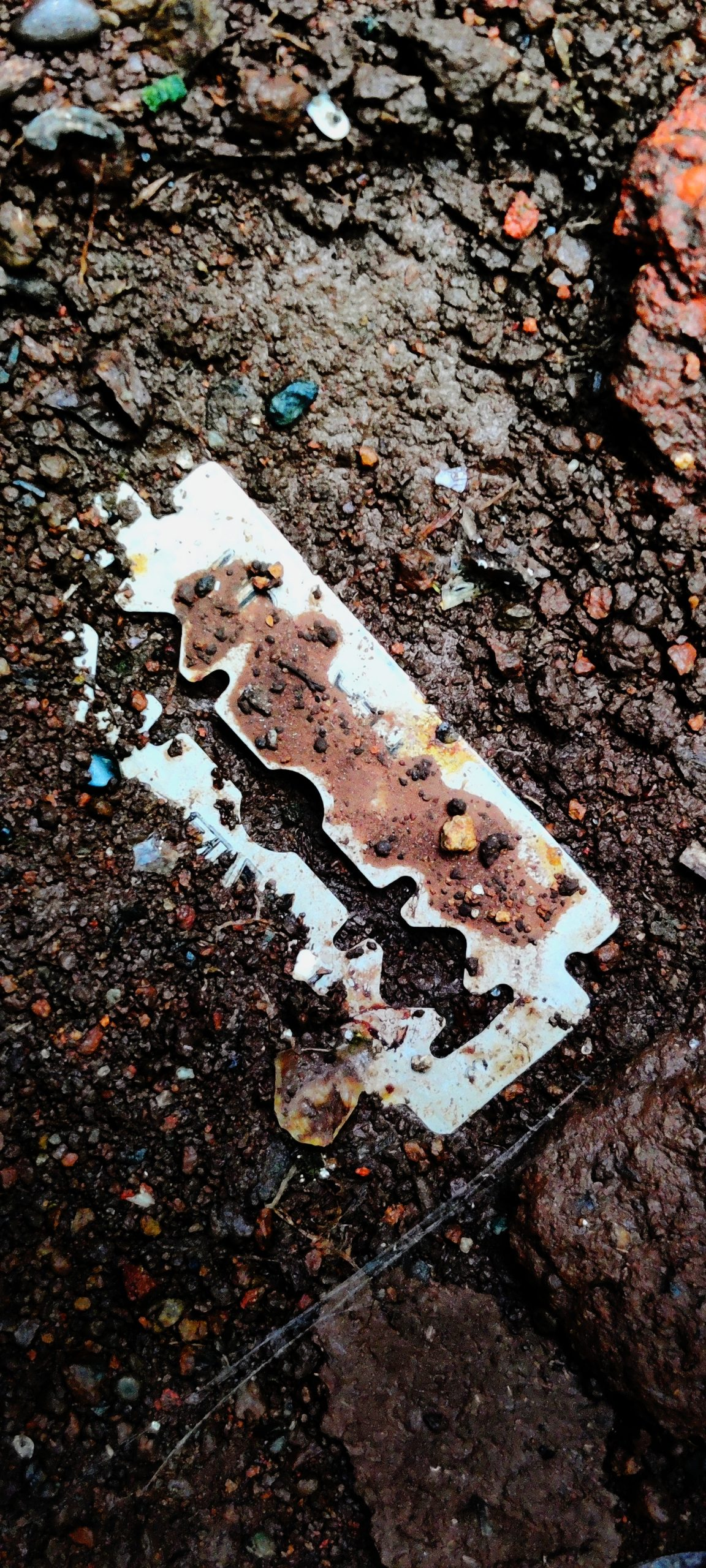 A fallen razor blade