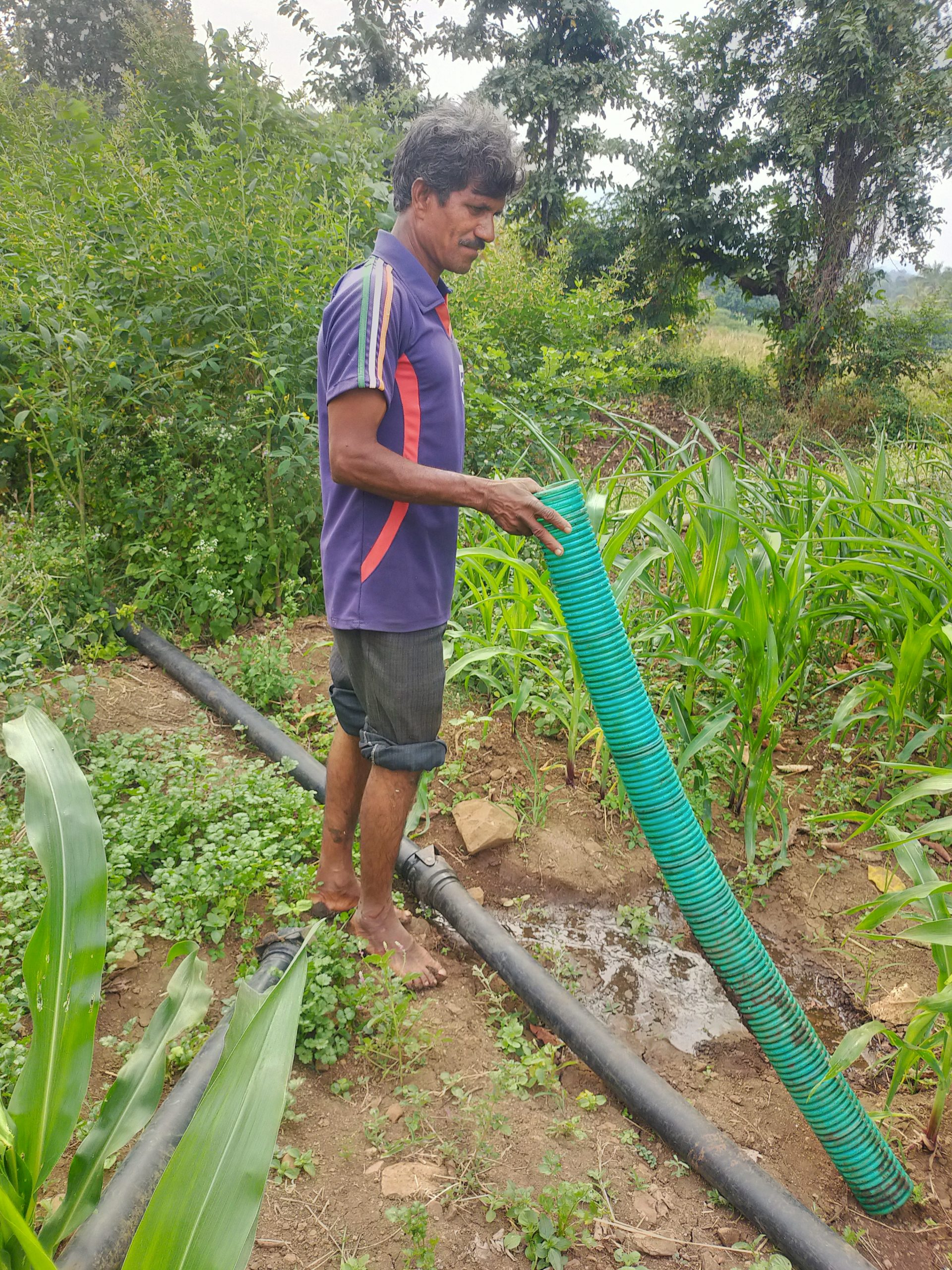 A farmer with water pipes