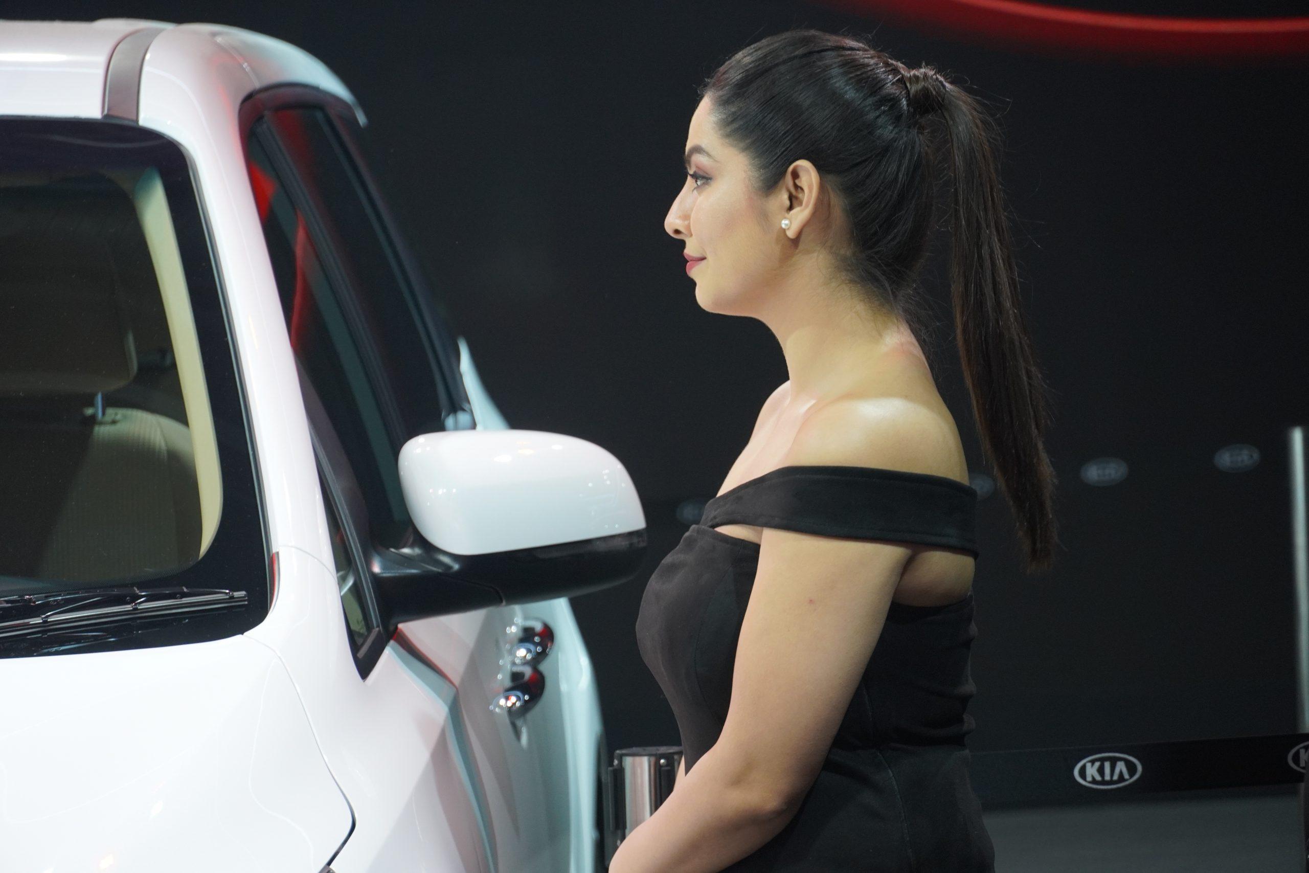 A girl in auto expo