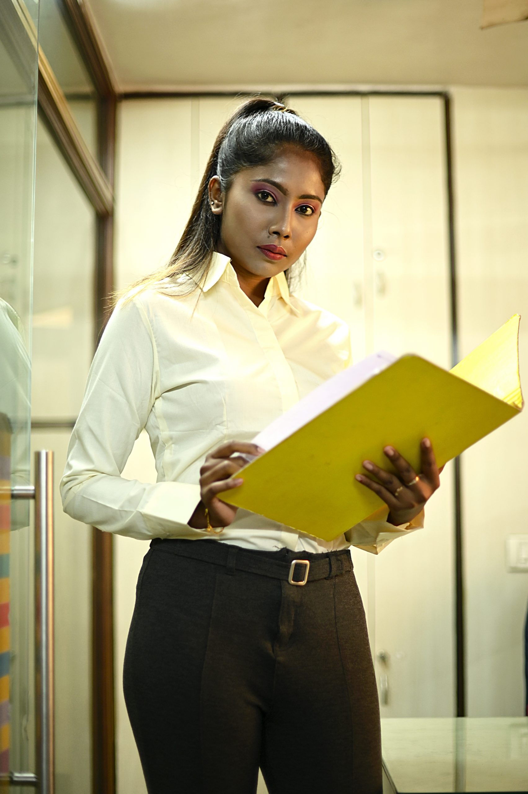 A girl in office