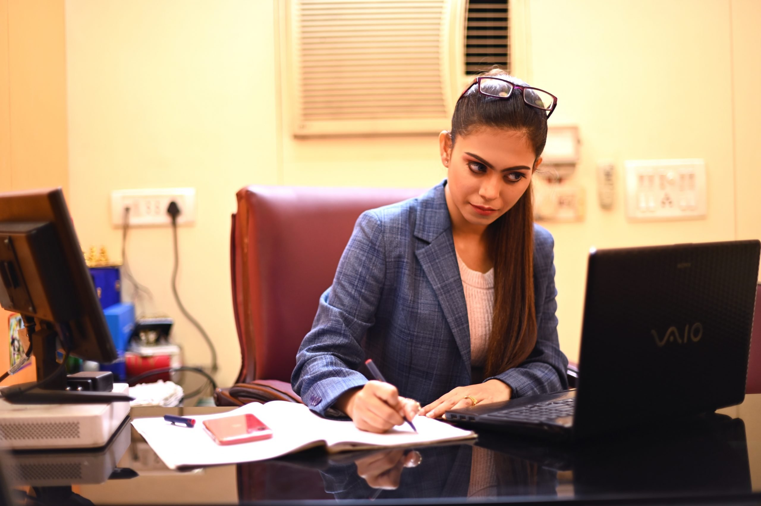 A girl working in office
