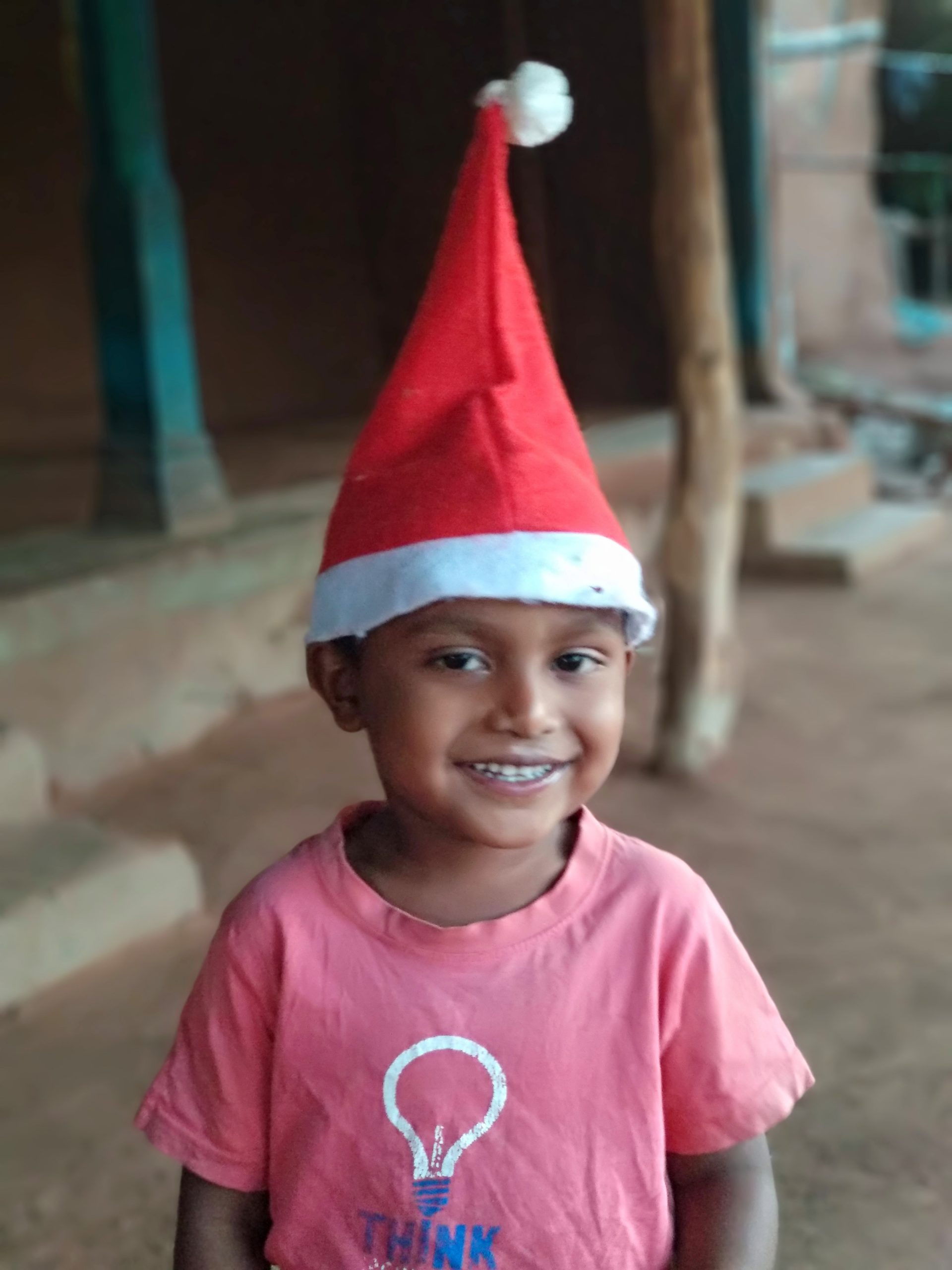 A kid celebrating Christmas