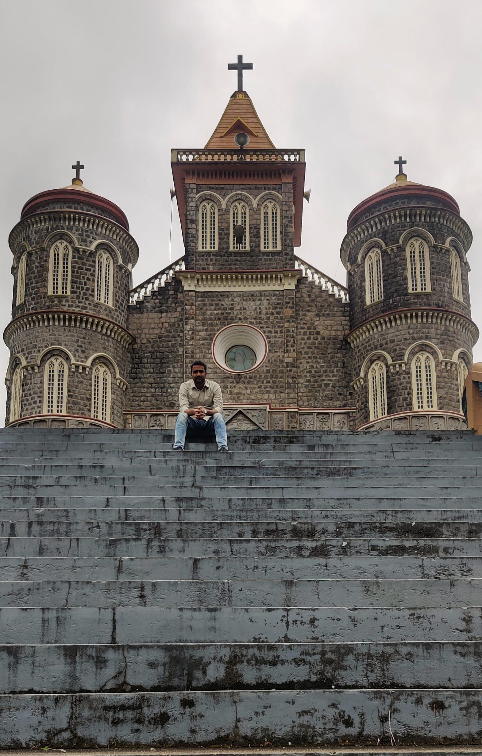 A man and church