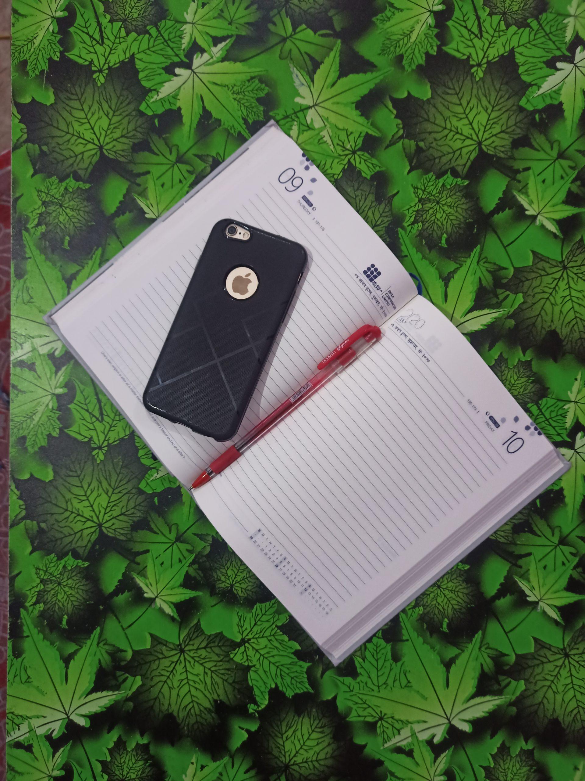 A phone on a diary