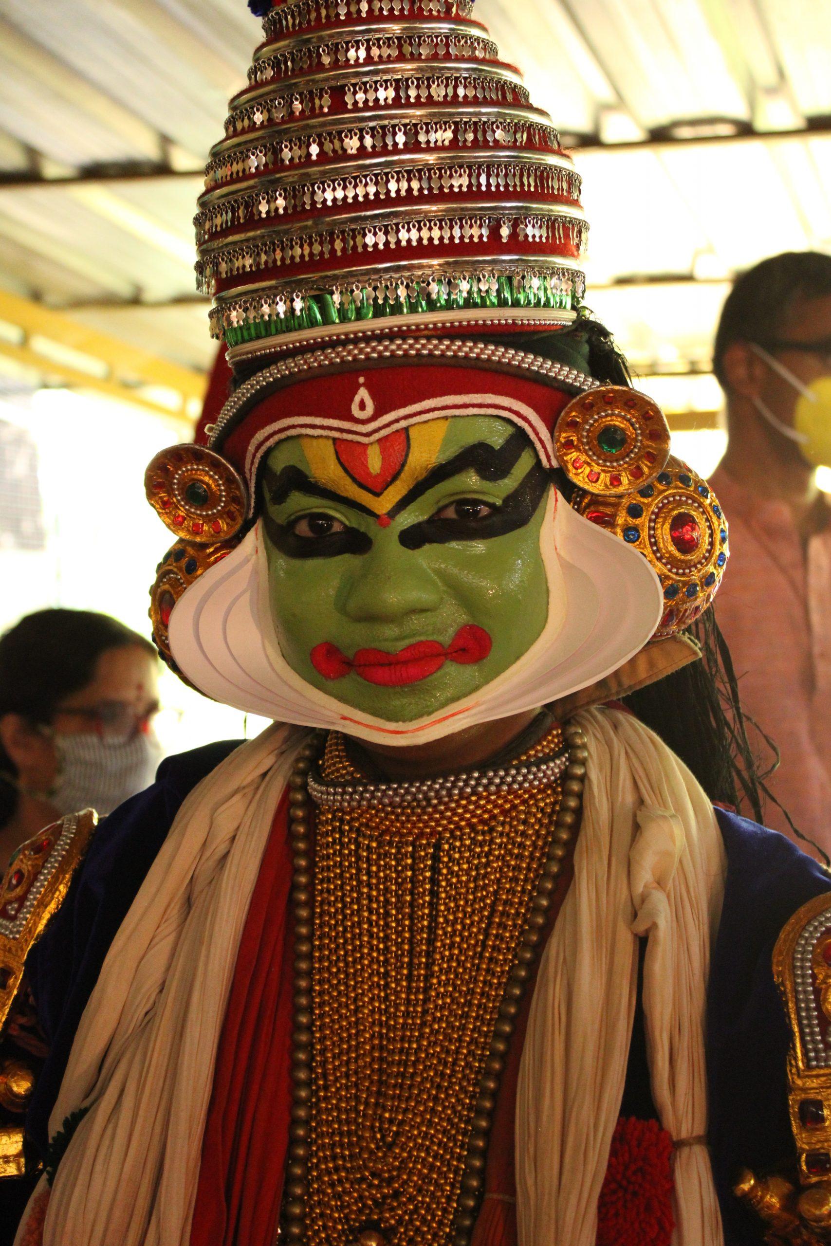 A portrait of a kathakali dance artist