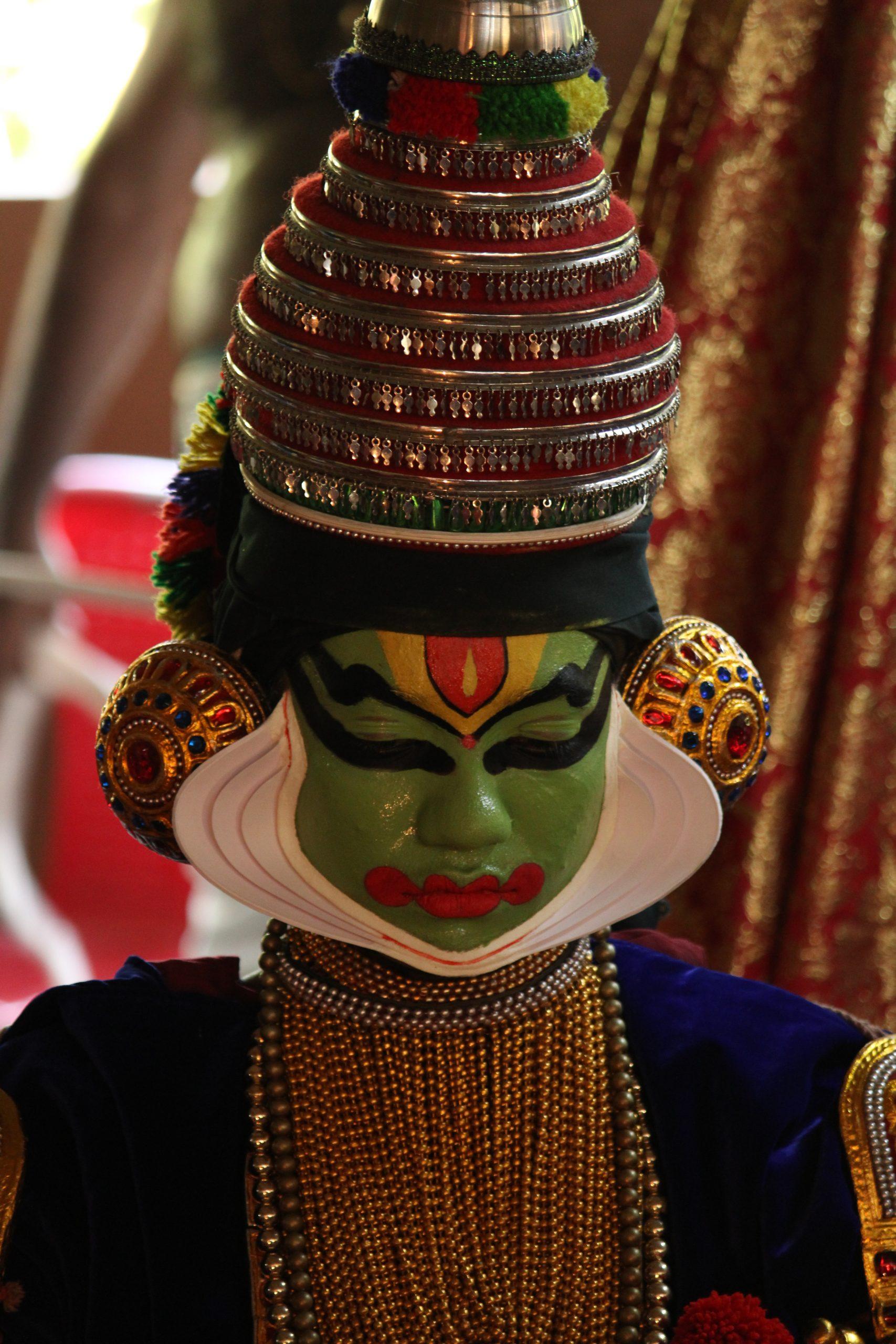 A portrait of a kathakali artist