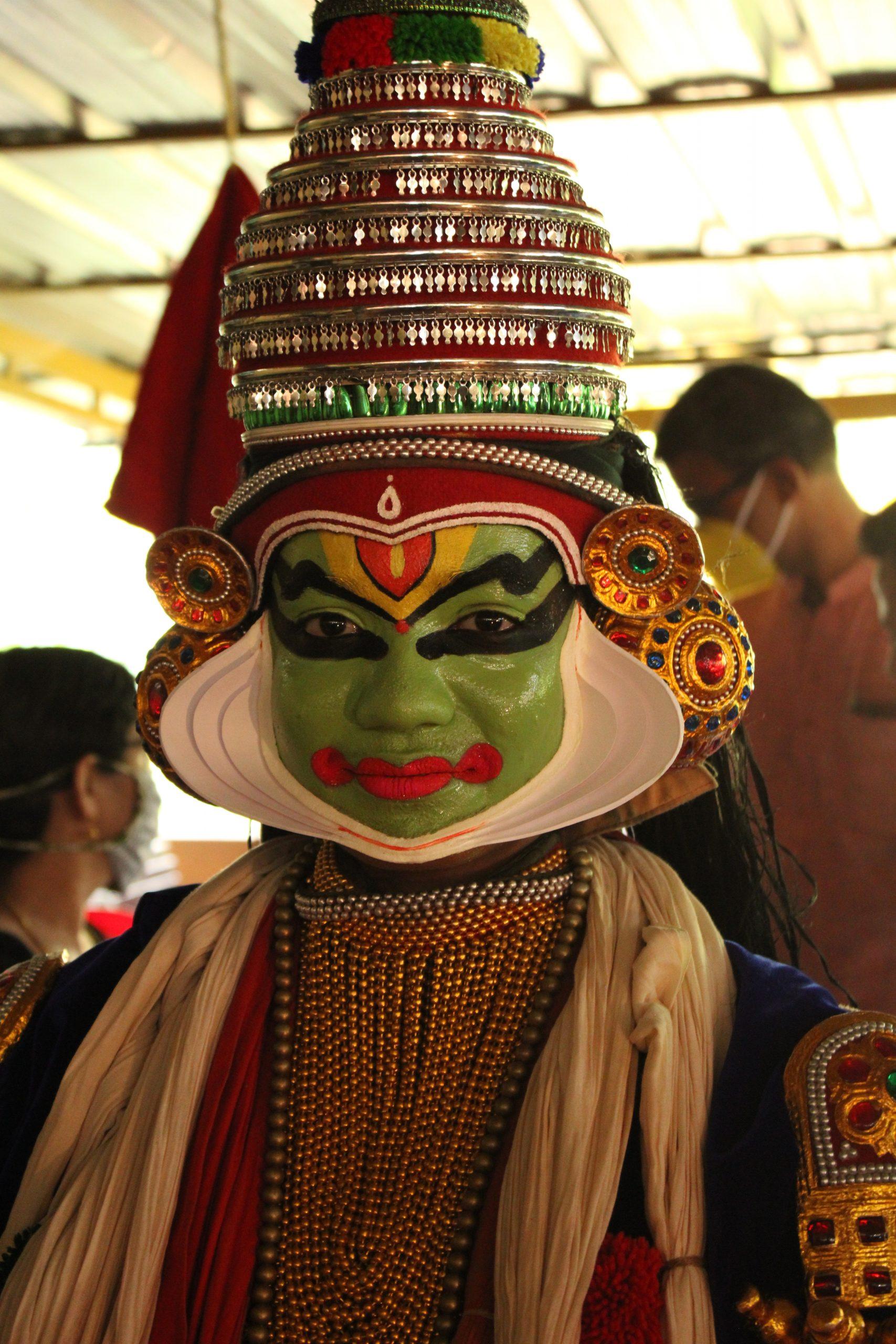 A portrait of a kathakali dancer