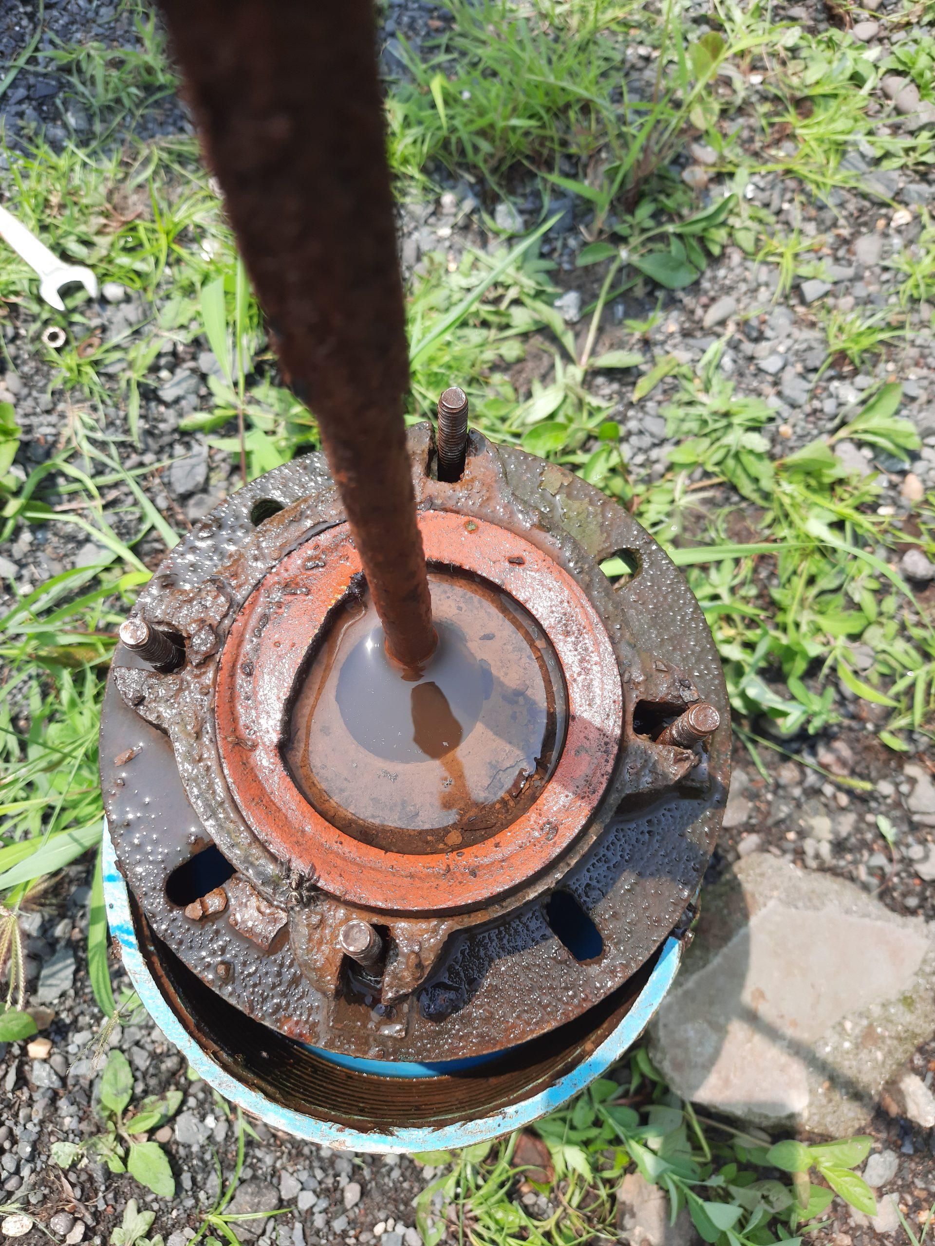 A pump in a borewell