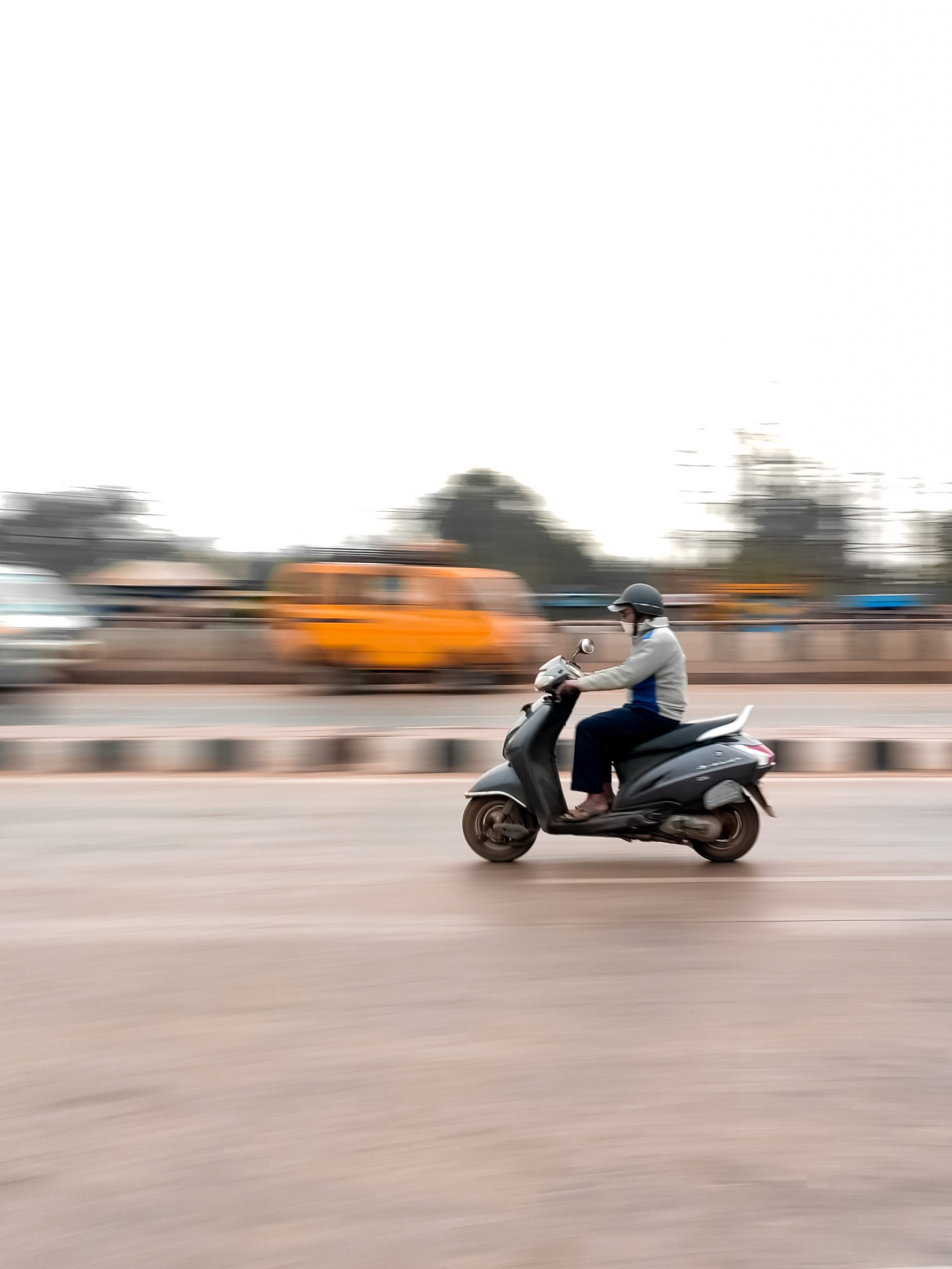 A scooter in motion
